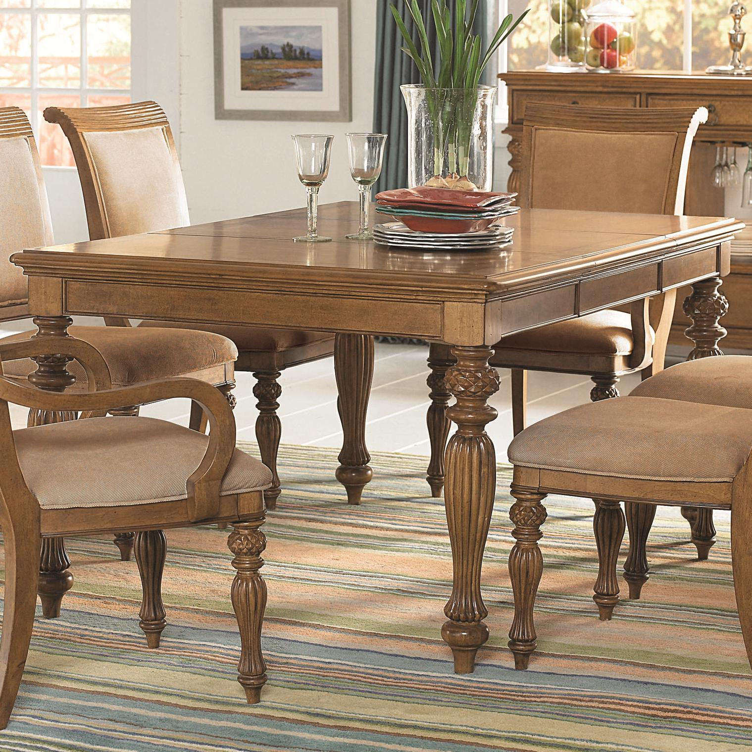 Piece rectangular turned carved leg dining table with