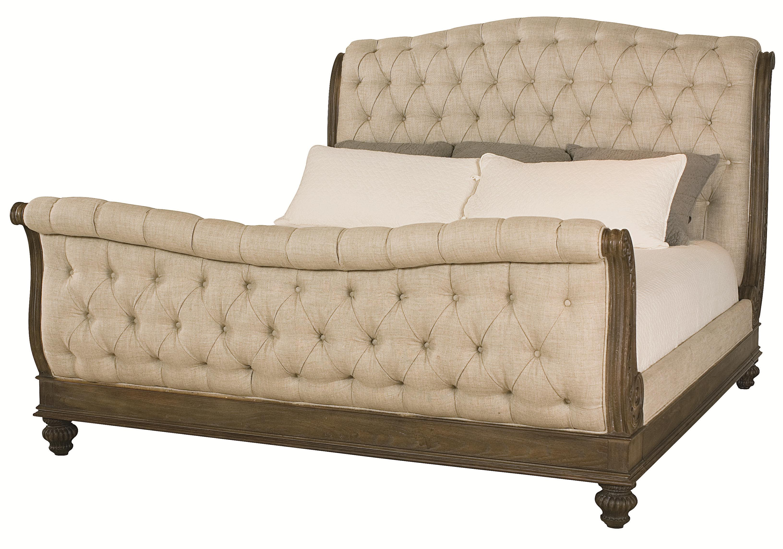 Queen Sleigh Bed With Linen Tufted Headboard And Footboard