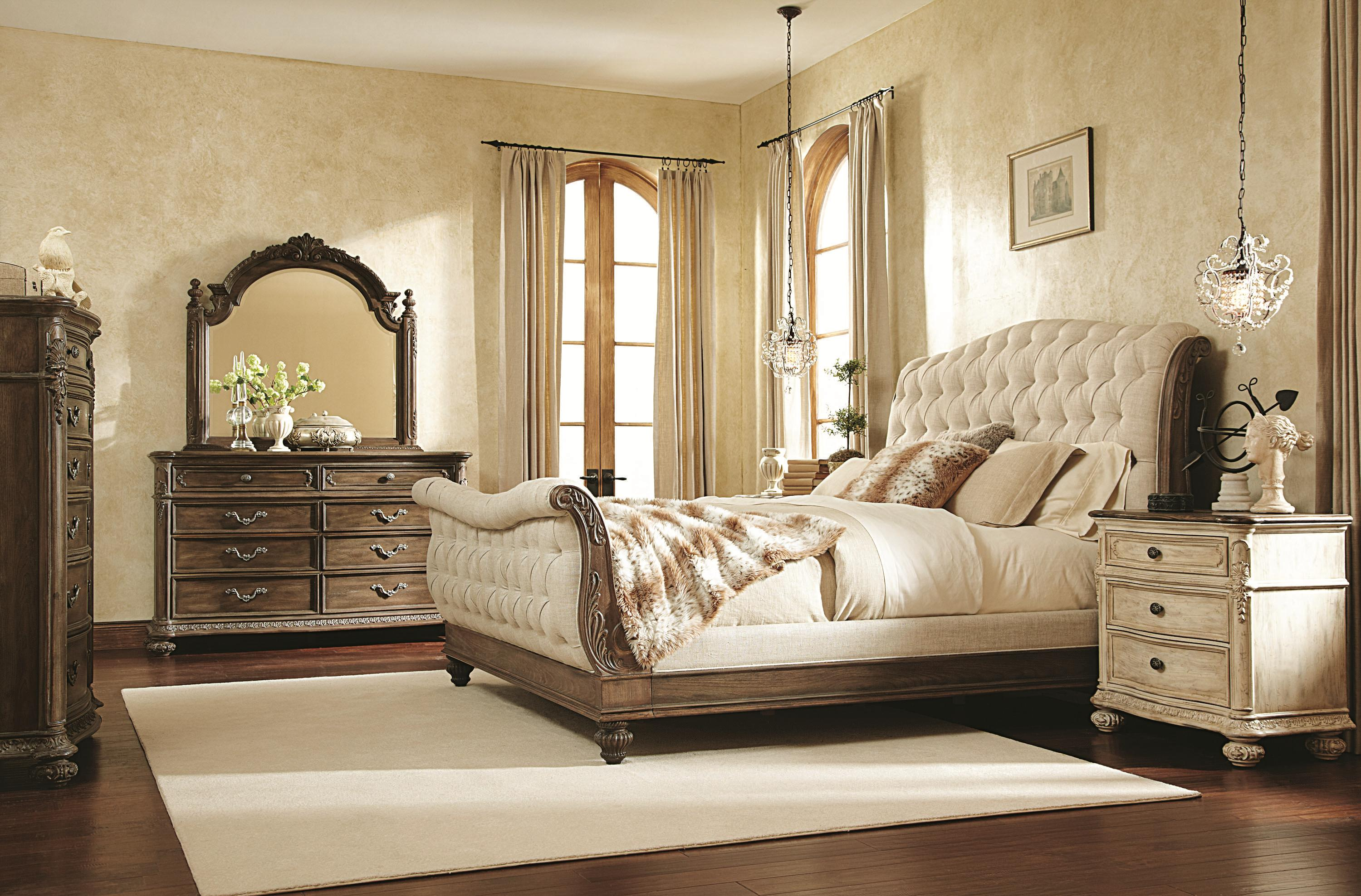 Queen sleigh bed with linen tufted headboard and footboard by american drew wolf and gardiner American home furniture bed frames
