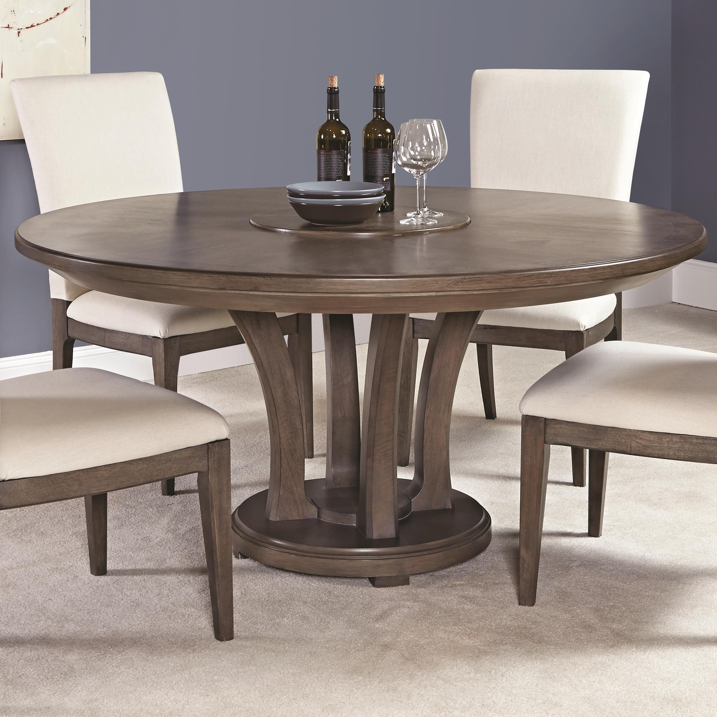 Contemporary 62 inch round dining table with trestle base for Contemporary round dining table