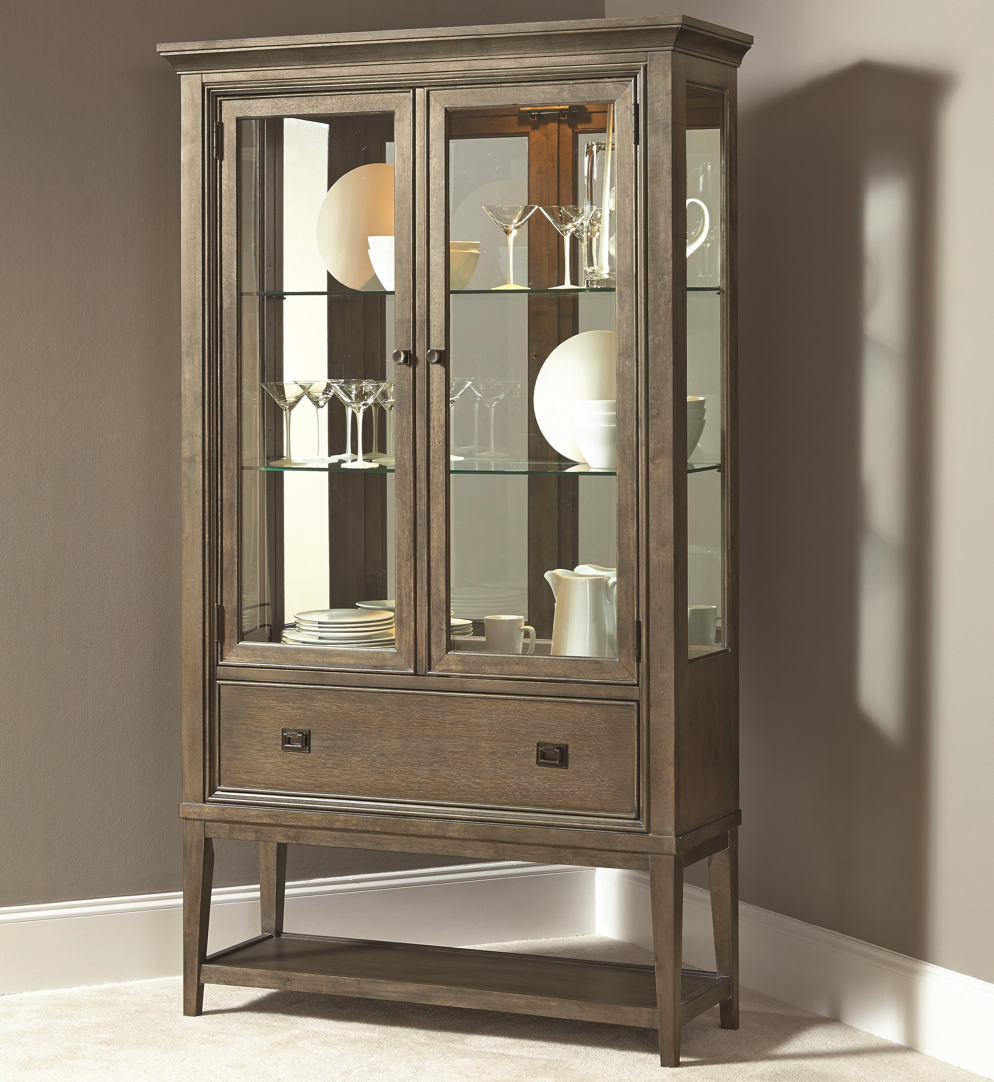 Contemporary curio china cabinet with 2 glass doors and for Glass cabinet with lights