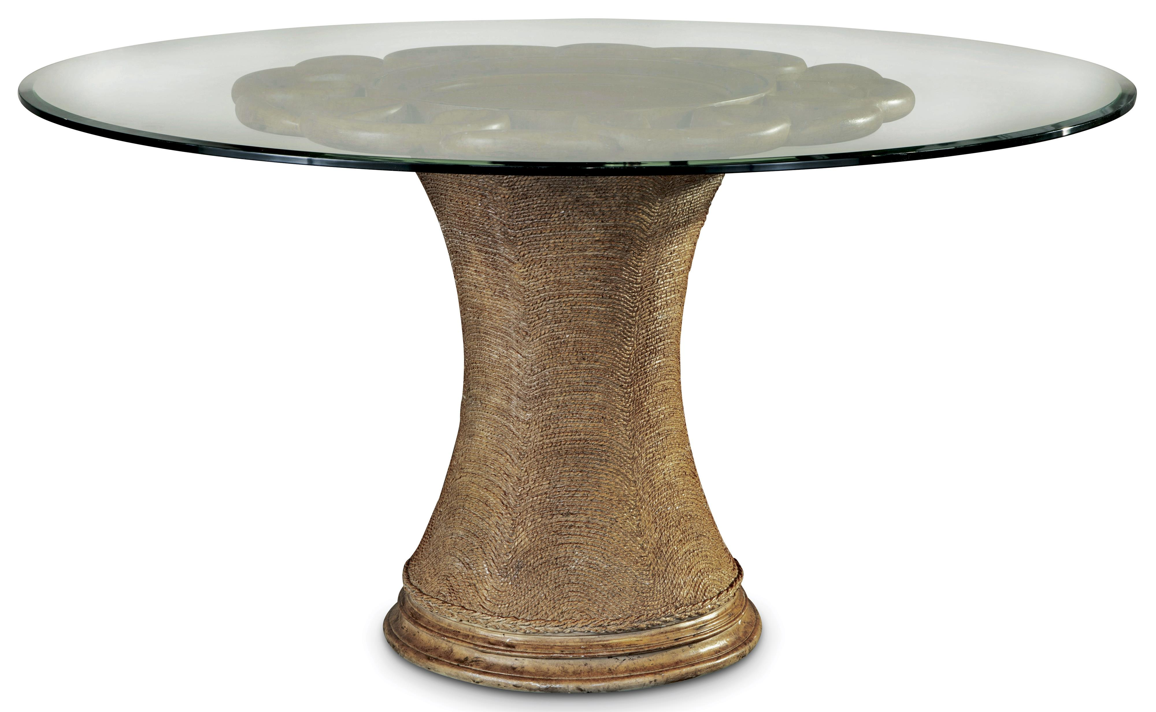 60 inch round dining table with glass top and pedestal base by a r t