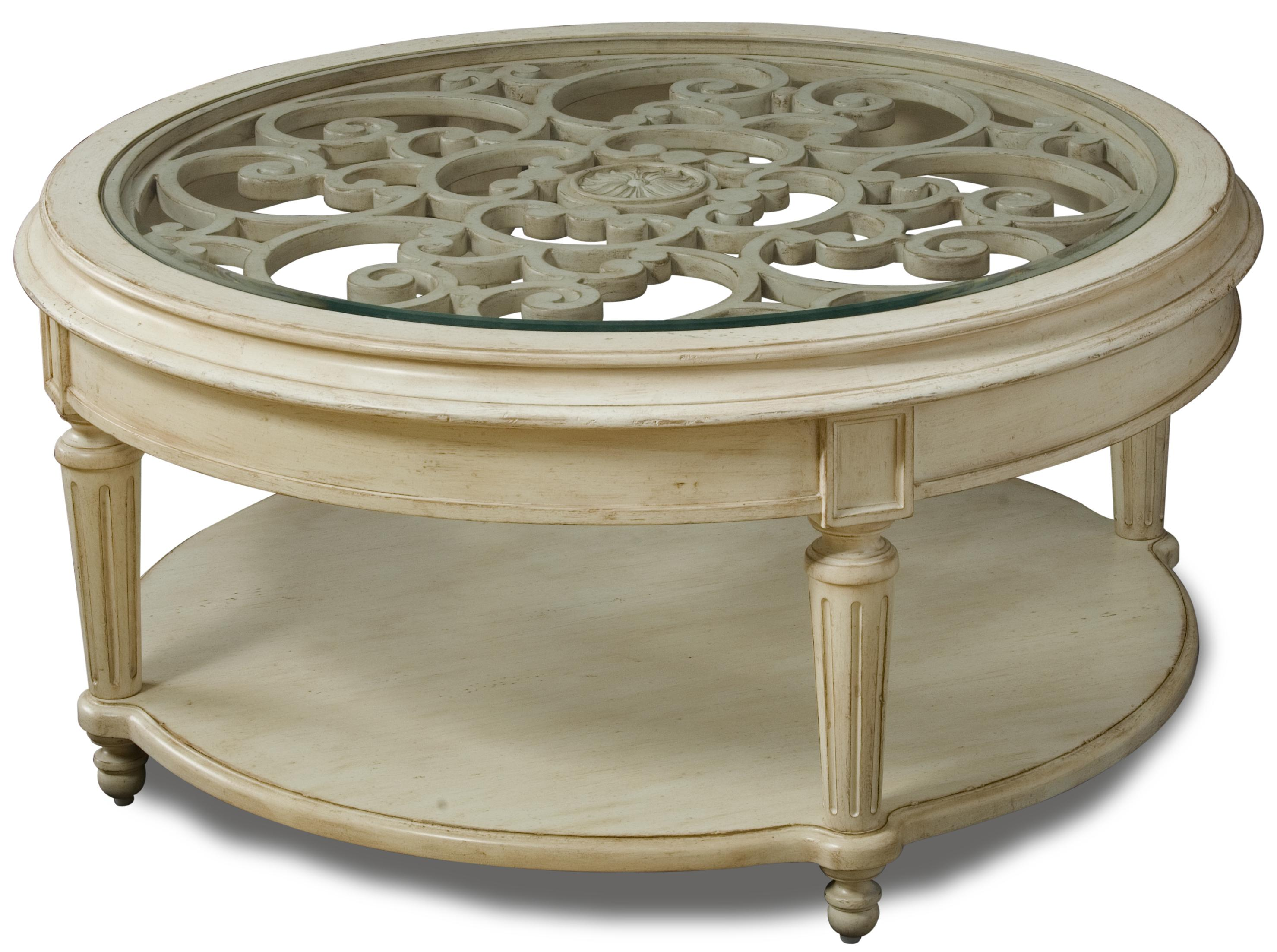 Carved Round Cocktail Table With Glass Top By A R T