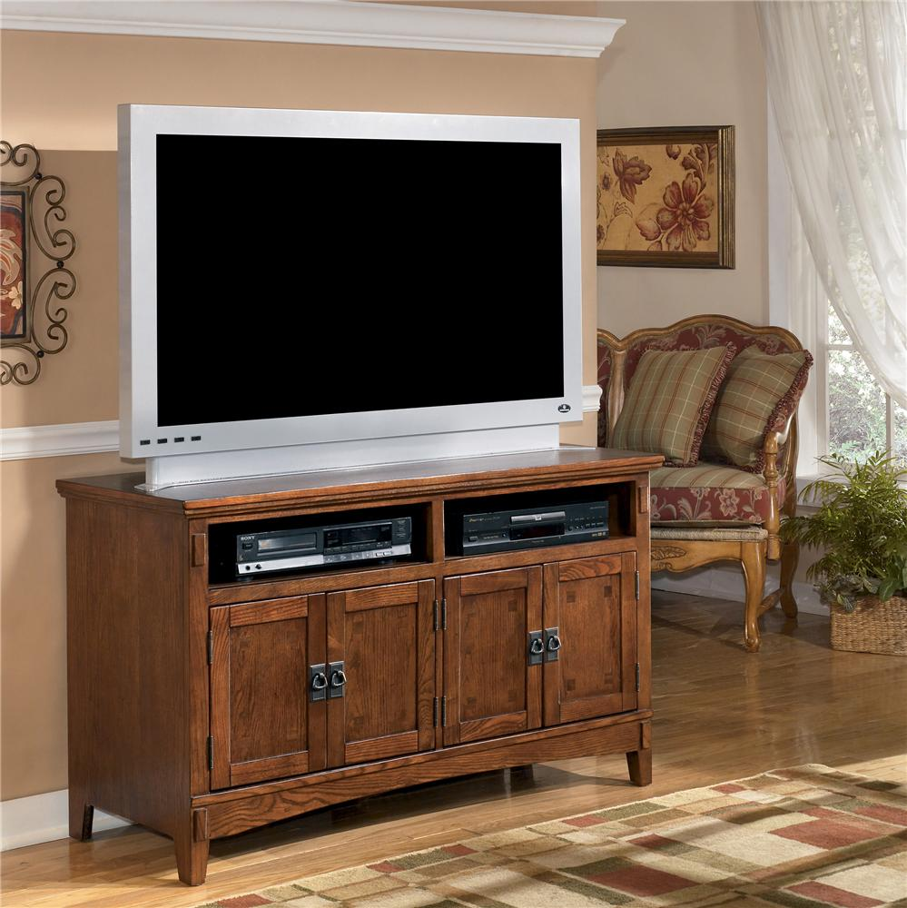 50 inch oak tv stand with mission style hardware by ashley furniture wolf and gardiner wolf. Black Bedroom Furniture Sets. Home Design Ideas