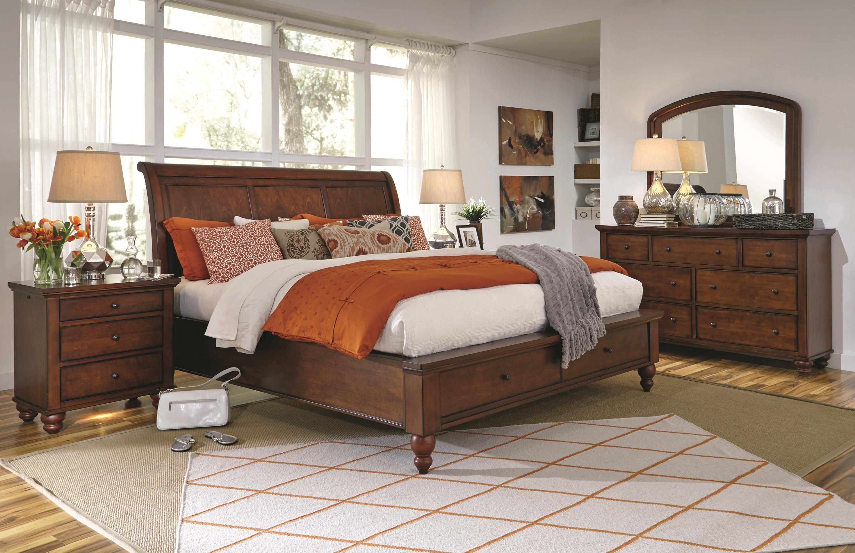 Queen sleigh bed with storage drawers and usb ports by aspenhome wolf and gardiner wolf furniture for Aspen home furniture cambridge bedroom set