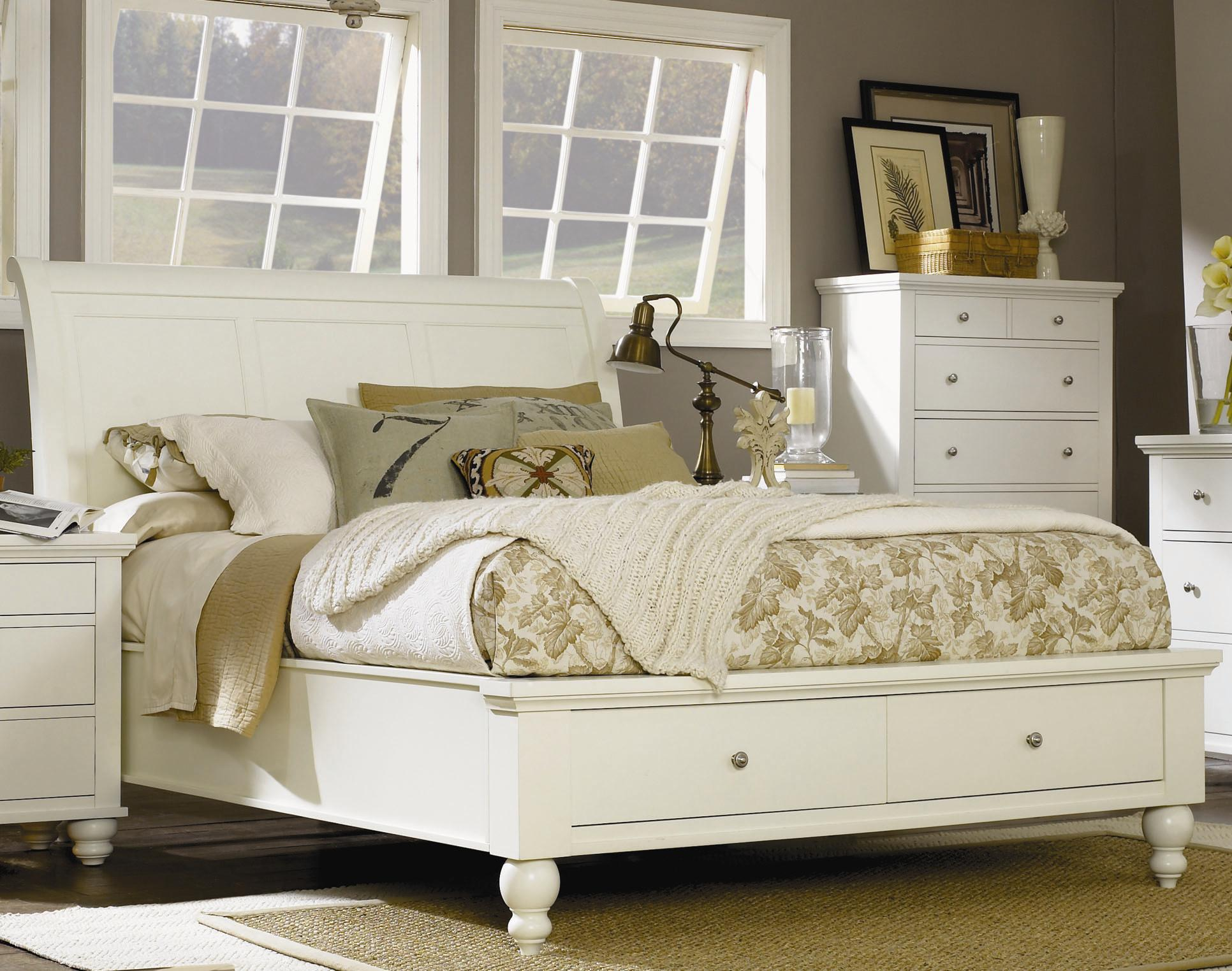 King size bed with sleigh headboard drawer storage for King footboard