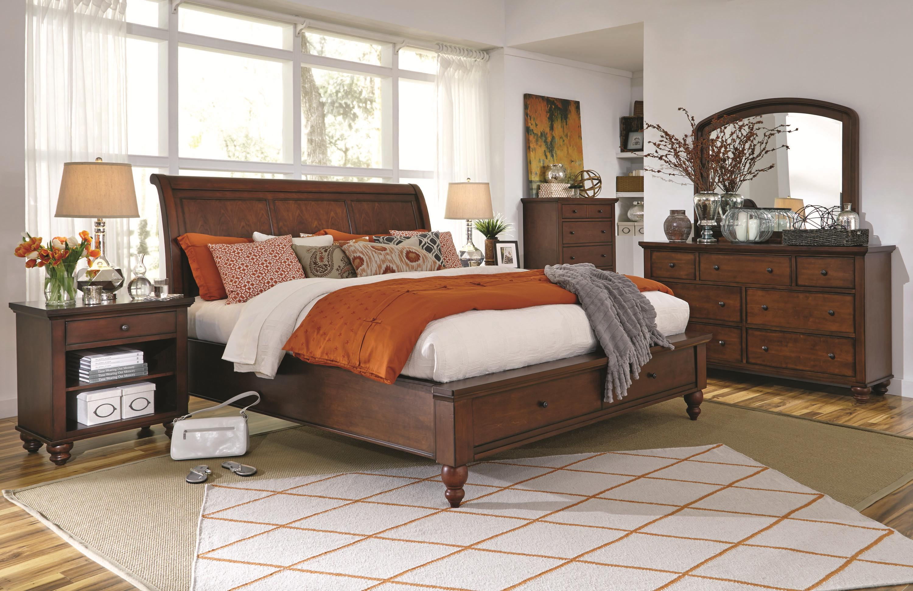 King Size Bed With Sleigh Headboard Drawer Storage Footboard By Aspenhome Wolf And Gardiner