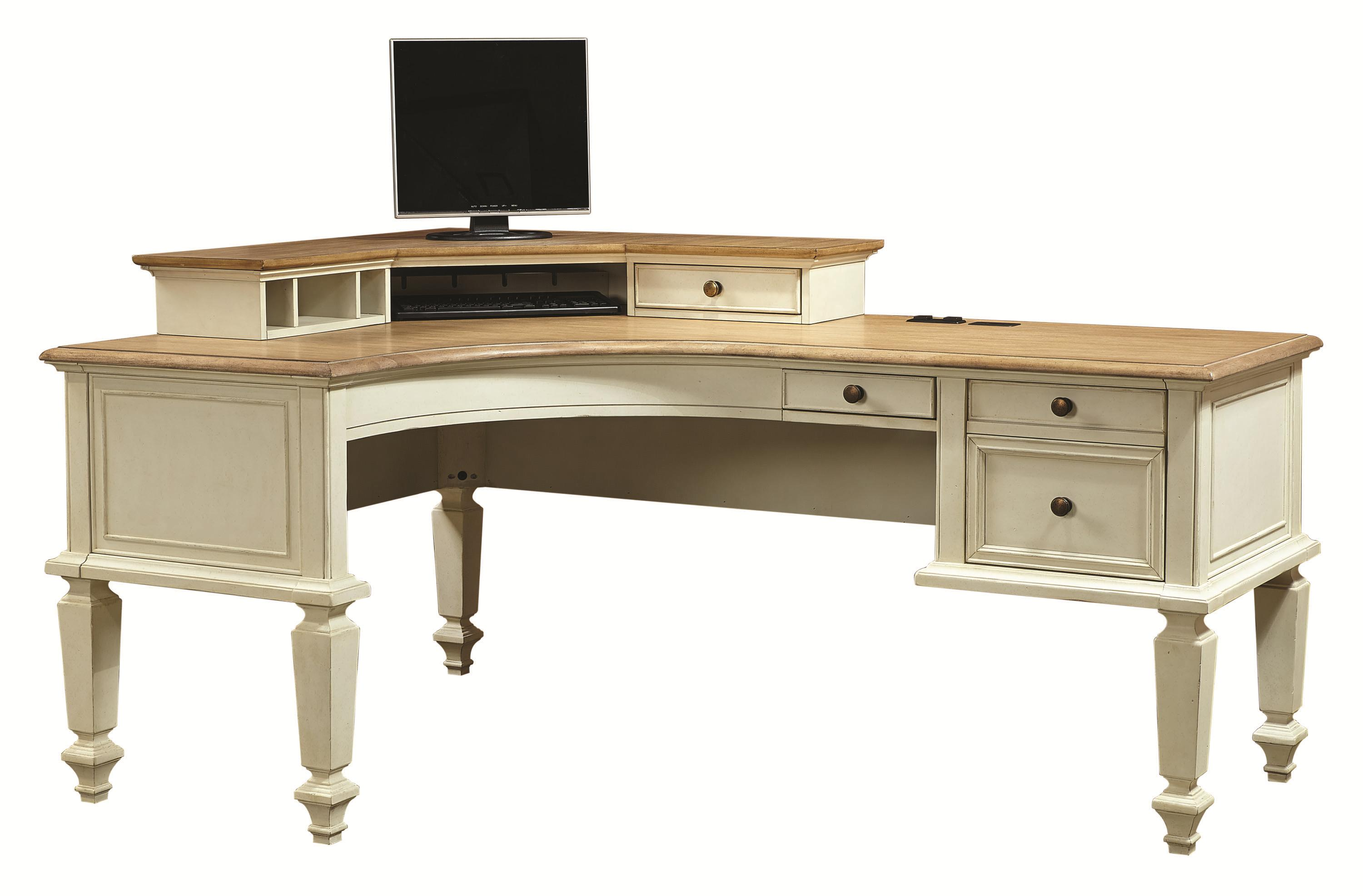 Curved Half Pedestal L Shaped Desk And Corner Hutch With 1