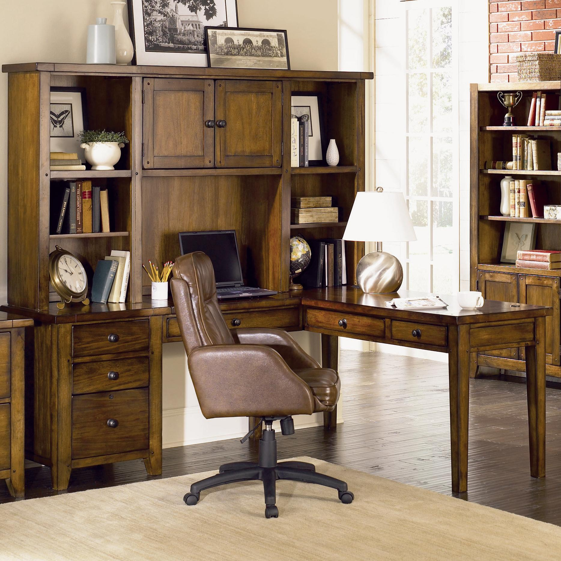 Superb img of Shaped Desk & Hutch by Aspenhome Wolf and Gardiner Wolf Furniture with #926C39 color and 1868x1868 pixels