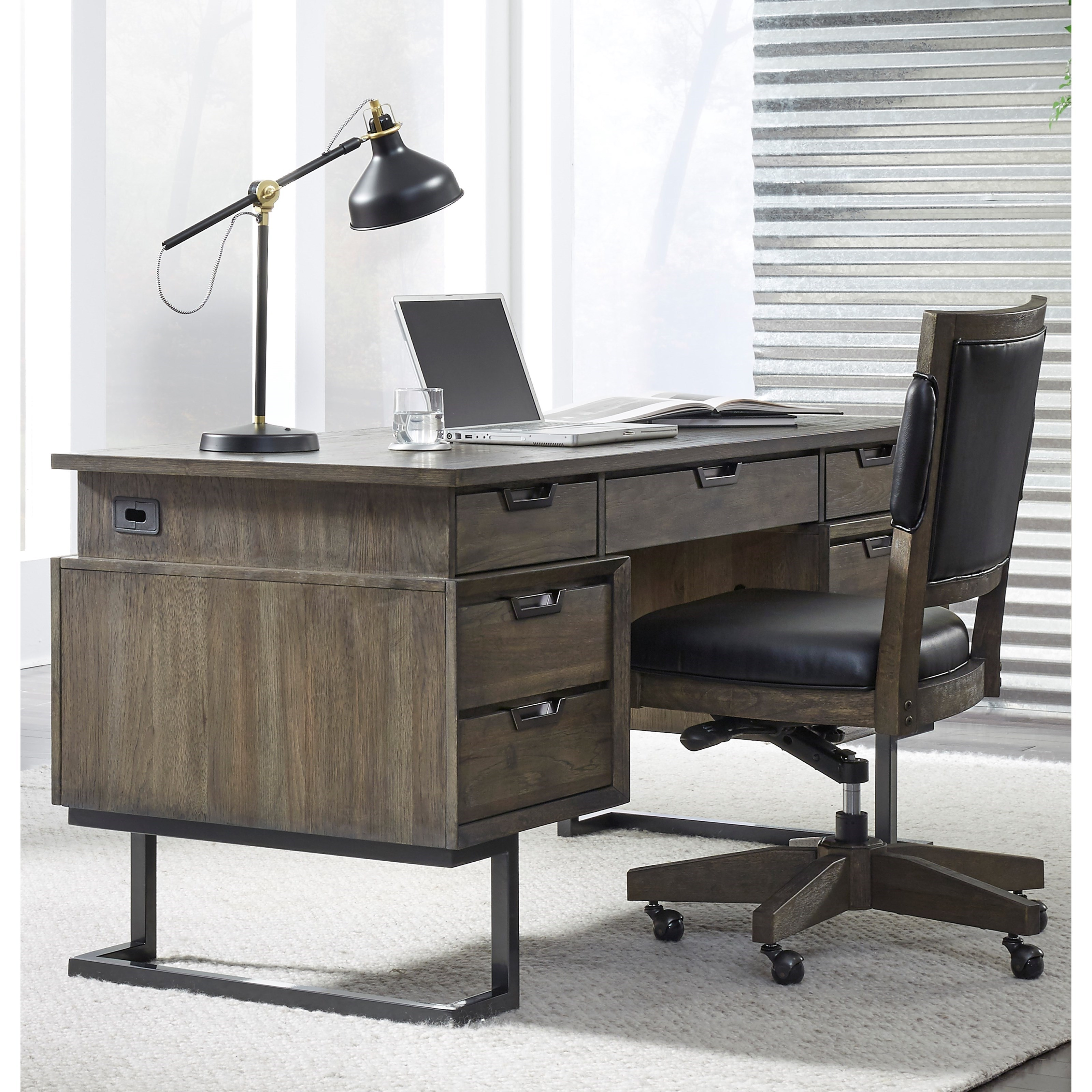 contemporary desk with outlets and locking drawers by aspenhome wolf and gardiner wolf furniture. Black Bedroom Furniture Sets. Home Design Ideas