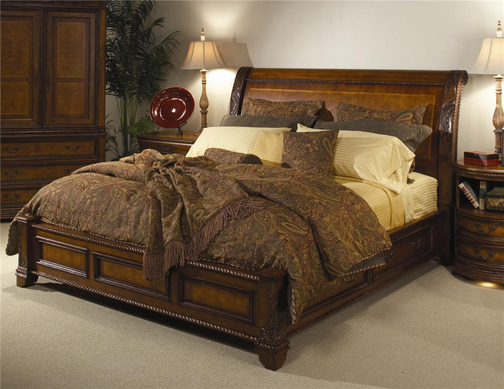 king size sleigh bedroom sets king size bed with sleigh headboard amp storage base by 19014