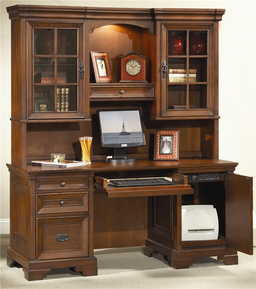66 inch credenza desk and hutch by aspenhome wolf and