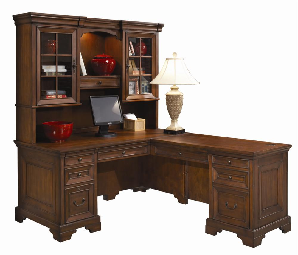 l shaped computer desk and return with hutch by aspenhome wolf and gardiner wolf furniture. Black Bedroom Furniture Sets. Home Design Ideas