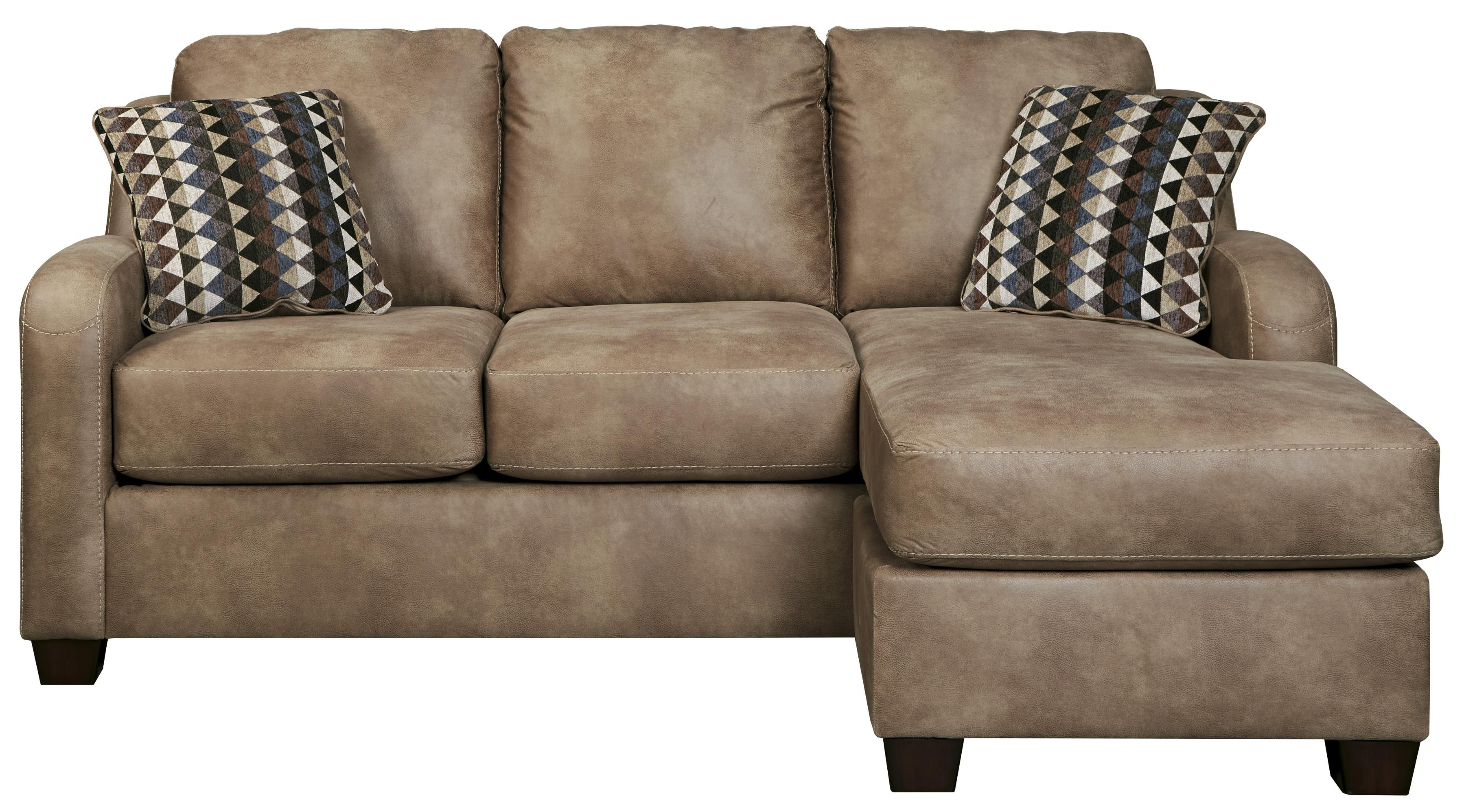 Faux Leather Queen Sofa Chaise Sleeper With Memory Foam