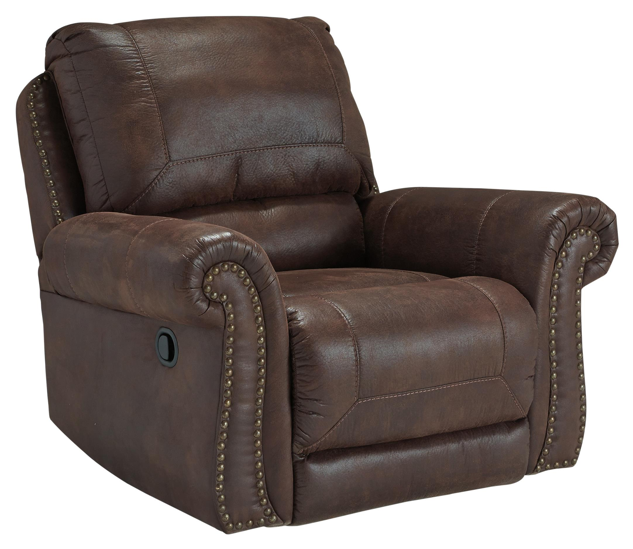 Faux Leather Rocker Recliner With Rolled Arms And Nailhead
