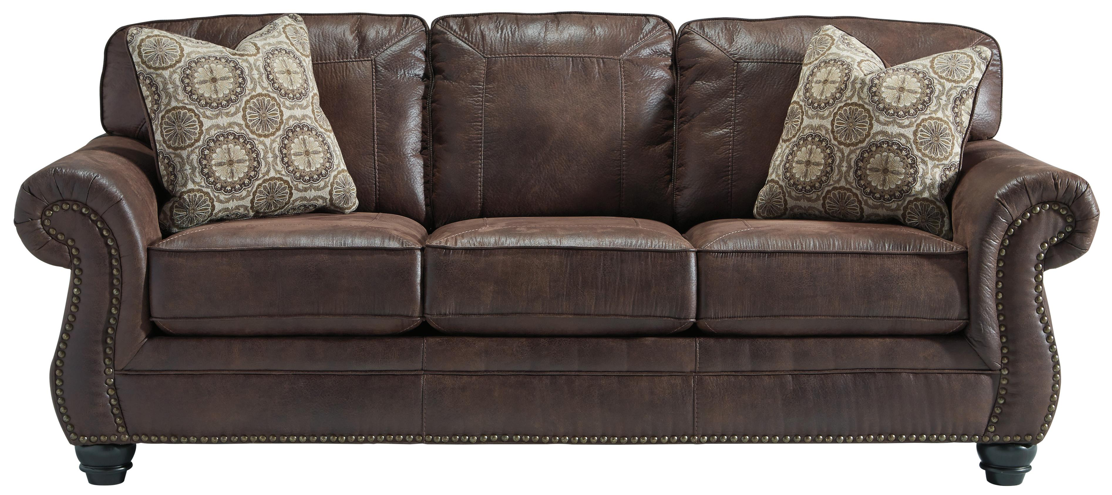 Faux leather sofa with rolled arms and nailhead trim by for Couch furniture