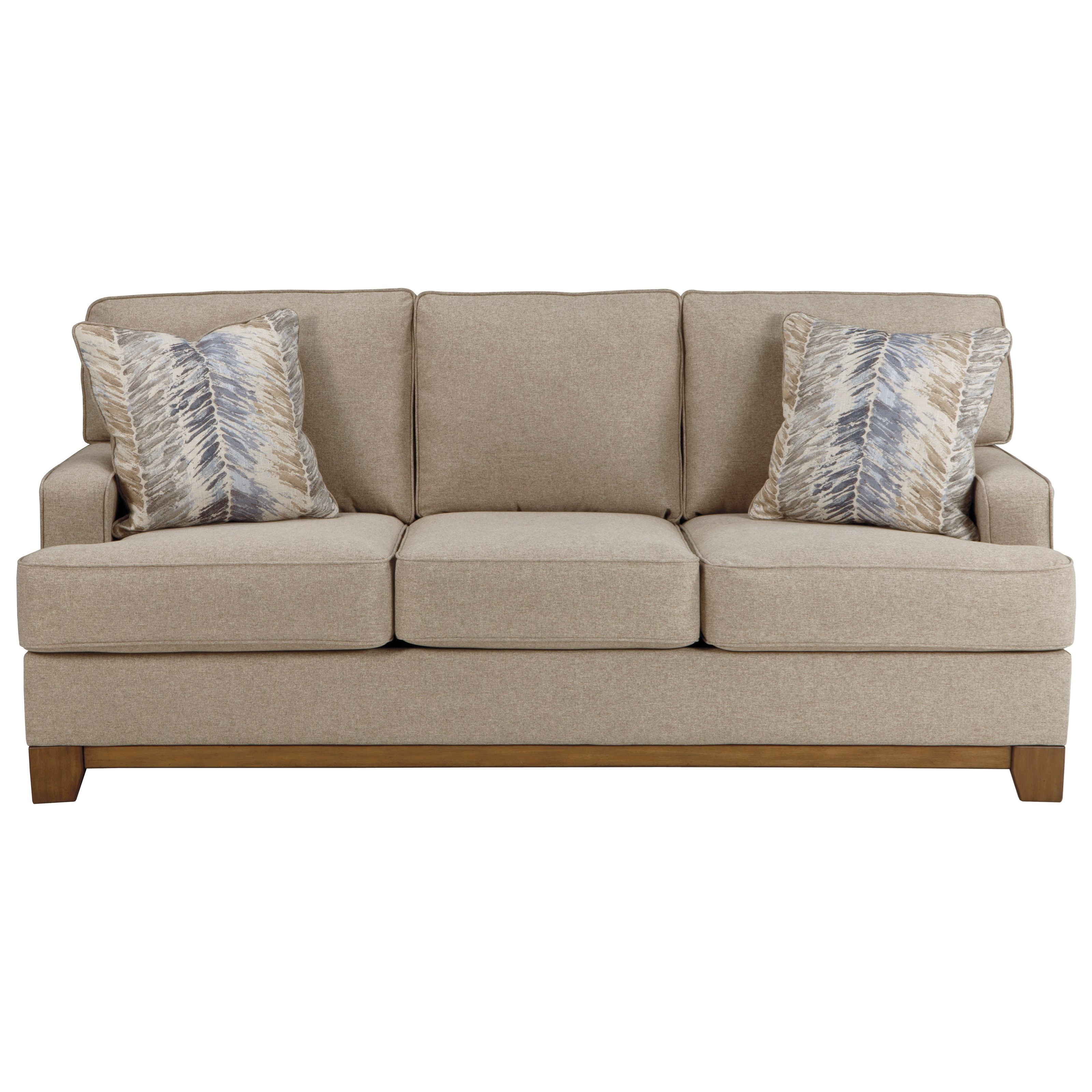 Contemporary sofa with exposed wood front rail by for Ashley furniture sawgrass