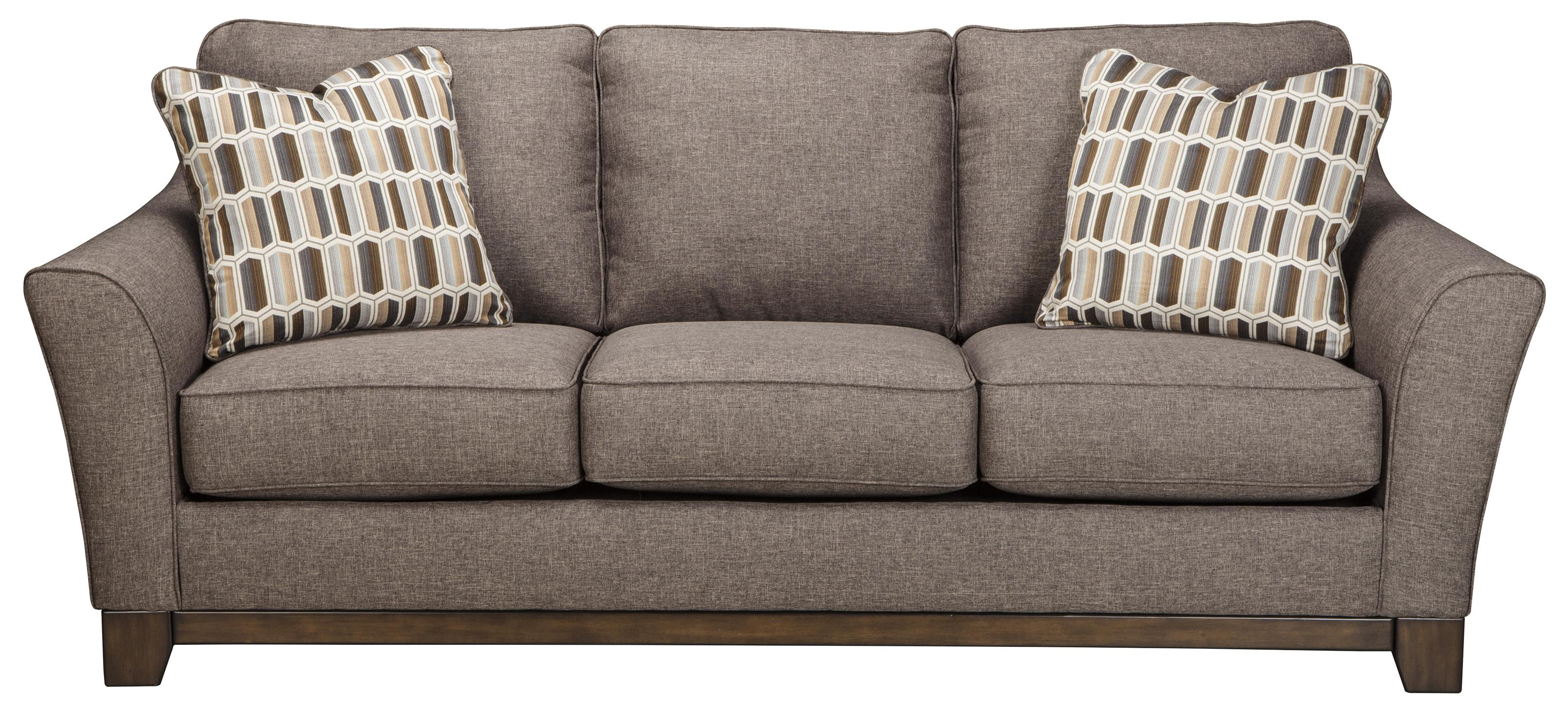 Contemporary sofa with front wood rail by benchcraft for Sectional sofas wolf furniture
