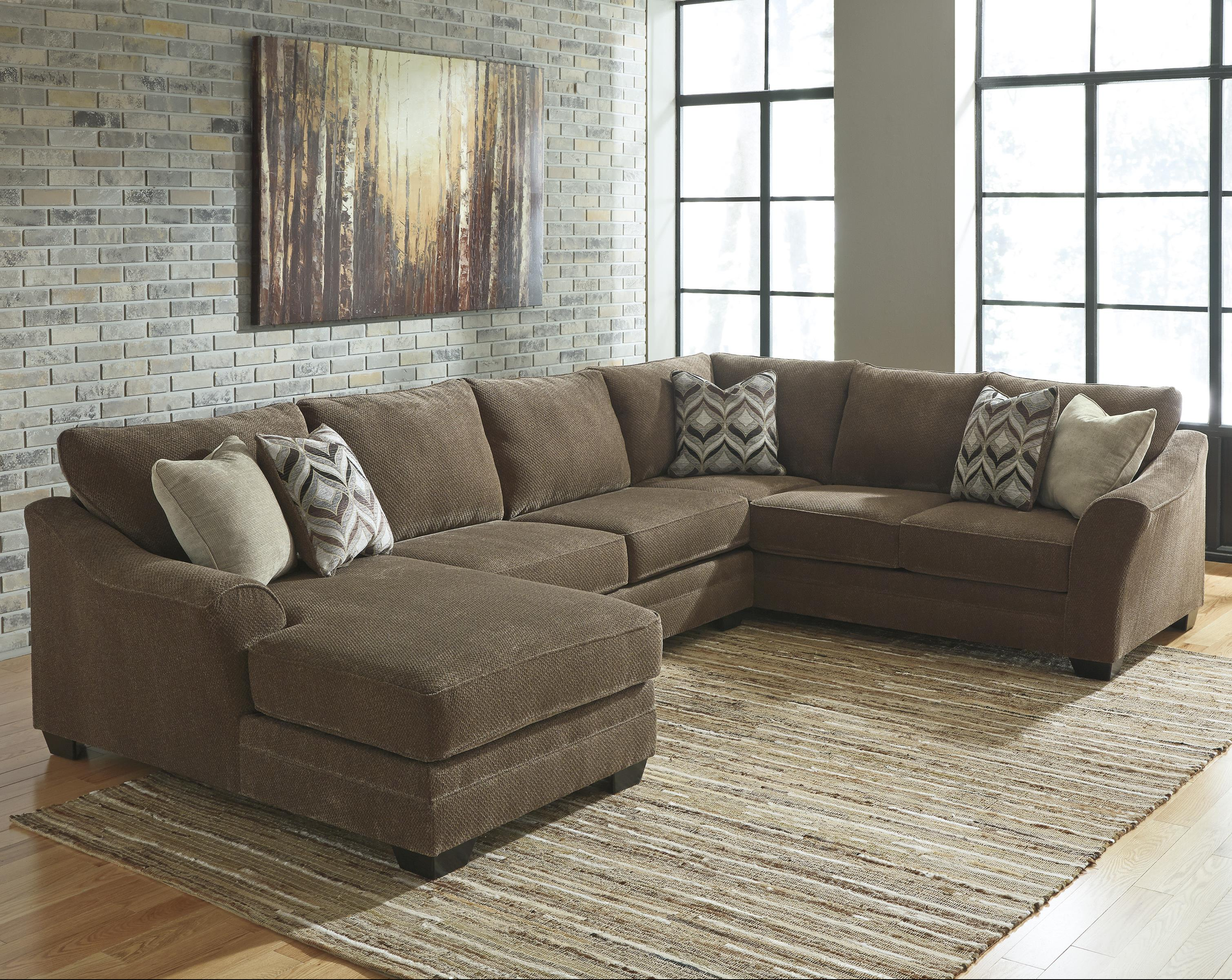 contemporary 3 piece sectional with left chaise by benchcraft wolf and gardiner wolf furniture. Black Bedroom Furniture Sets. Home Design Ideas