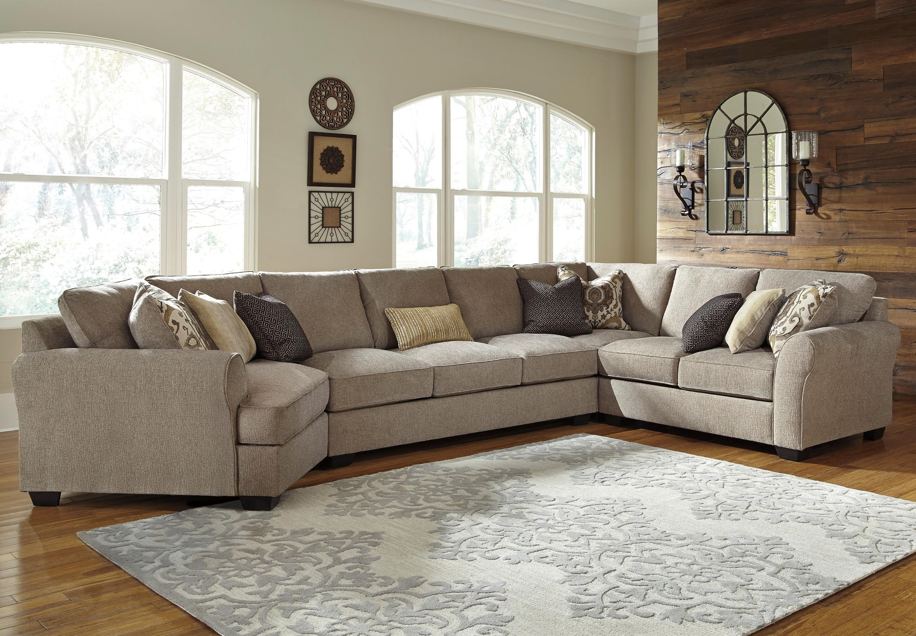 4 piece sectional with left cuddler armless sofa by for Small sectional sofa with cuddler