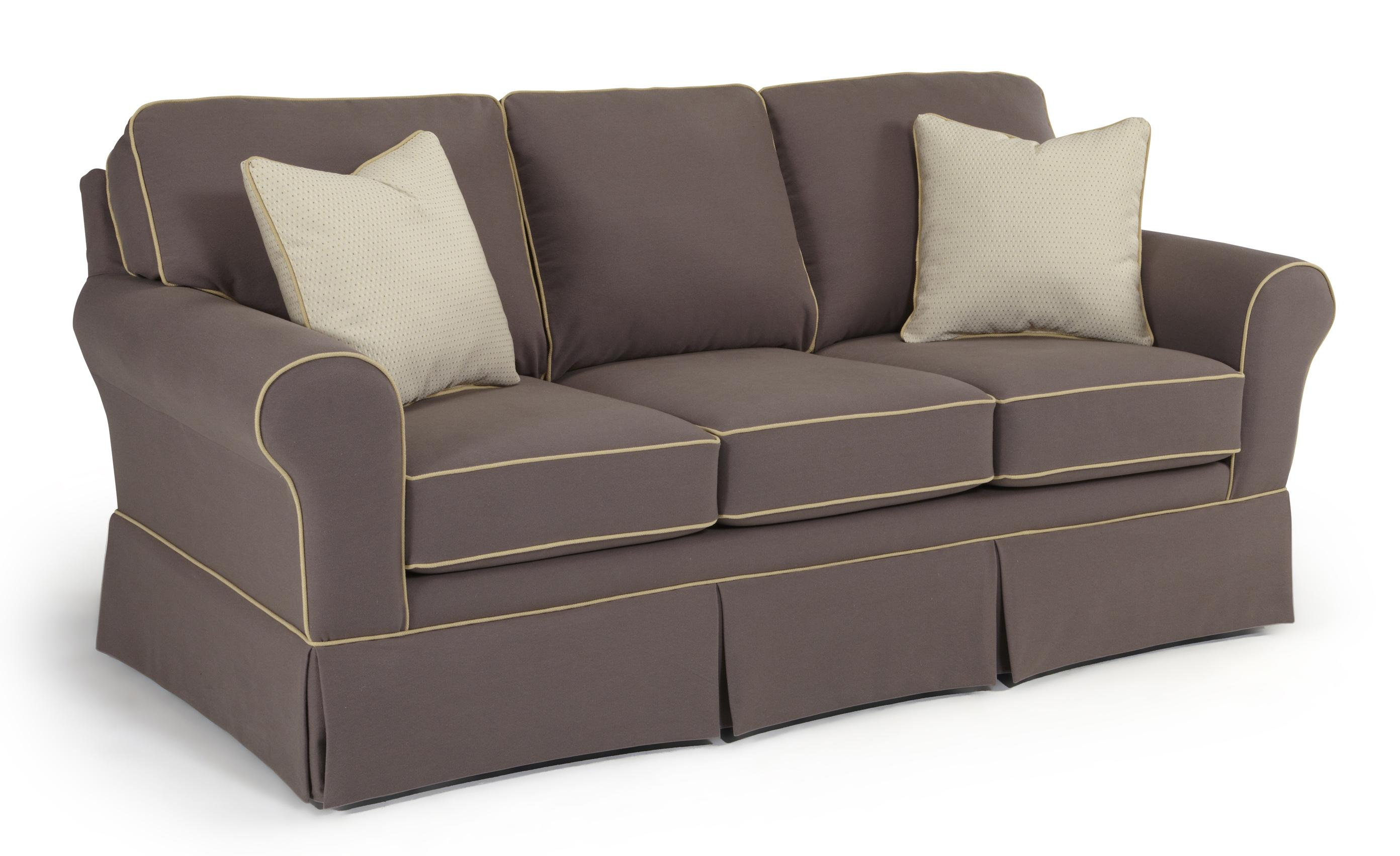 Customizable traditional sofa with rolled arms and skirted for Traditional sofas and loveseats