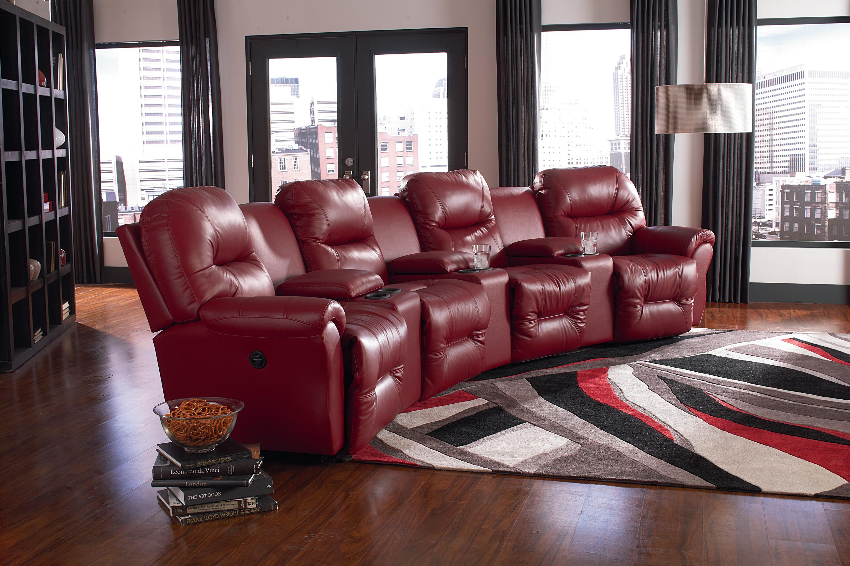 4 seater power reclining home theater group by best home for Best furniture for home theater