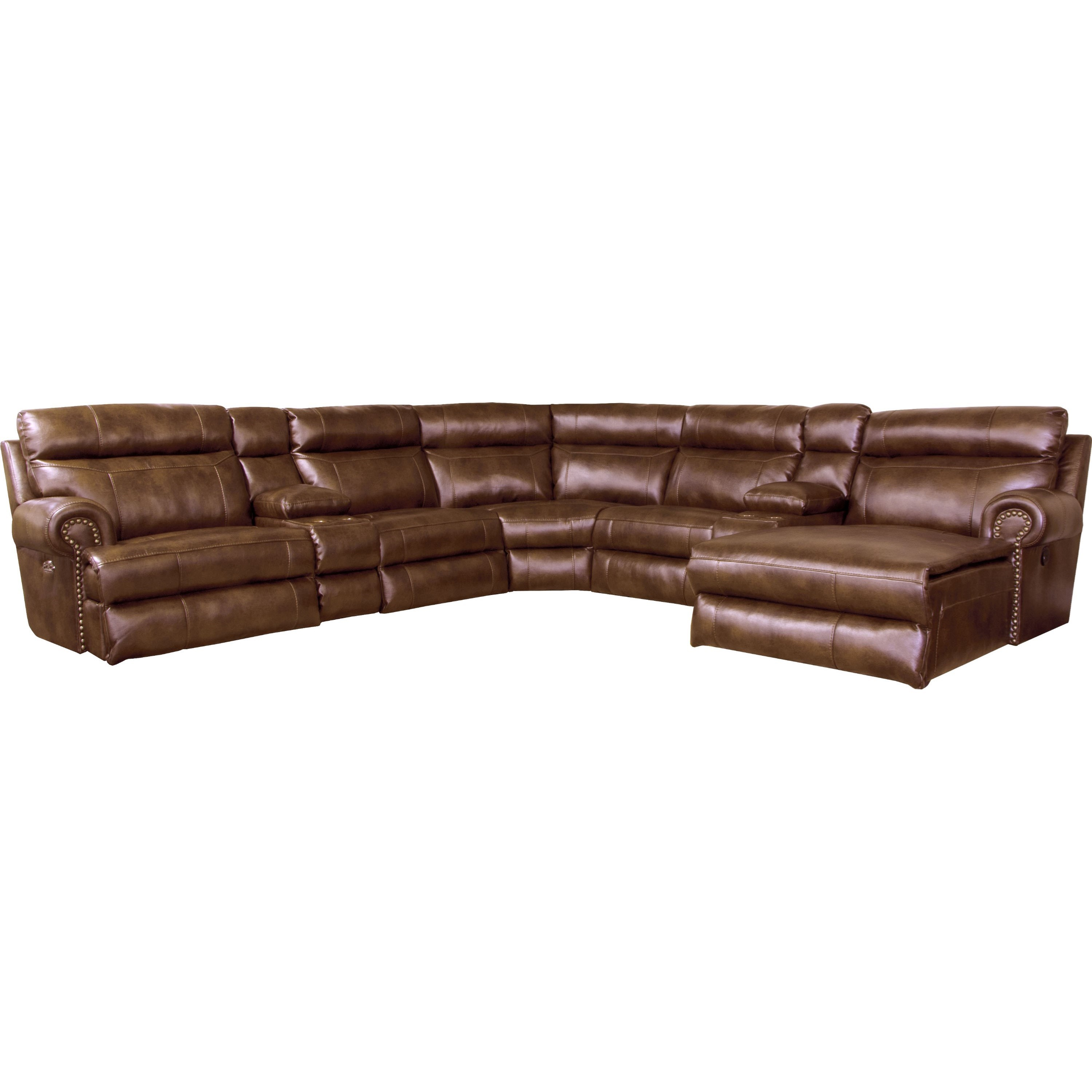 Reclining sectional sofa with 5 seats by catnapper wolf for Sectional sofa seats 10