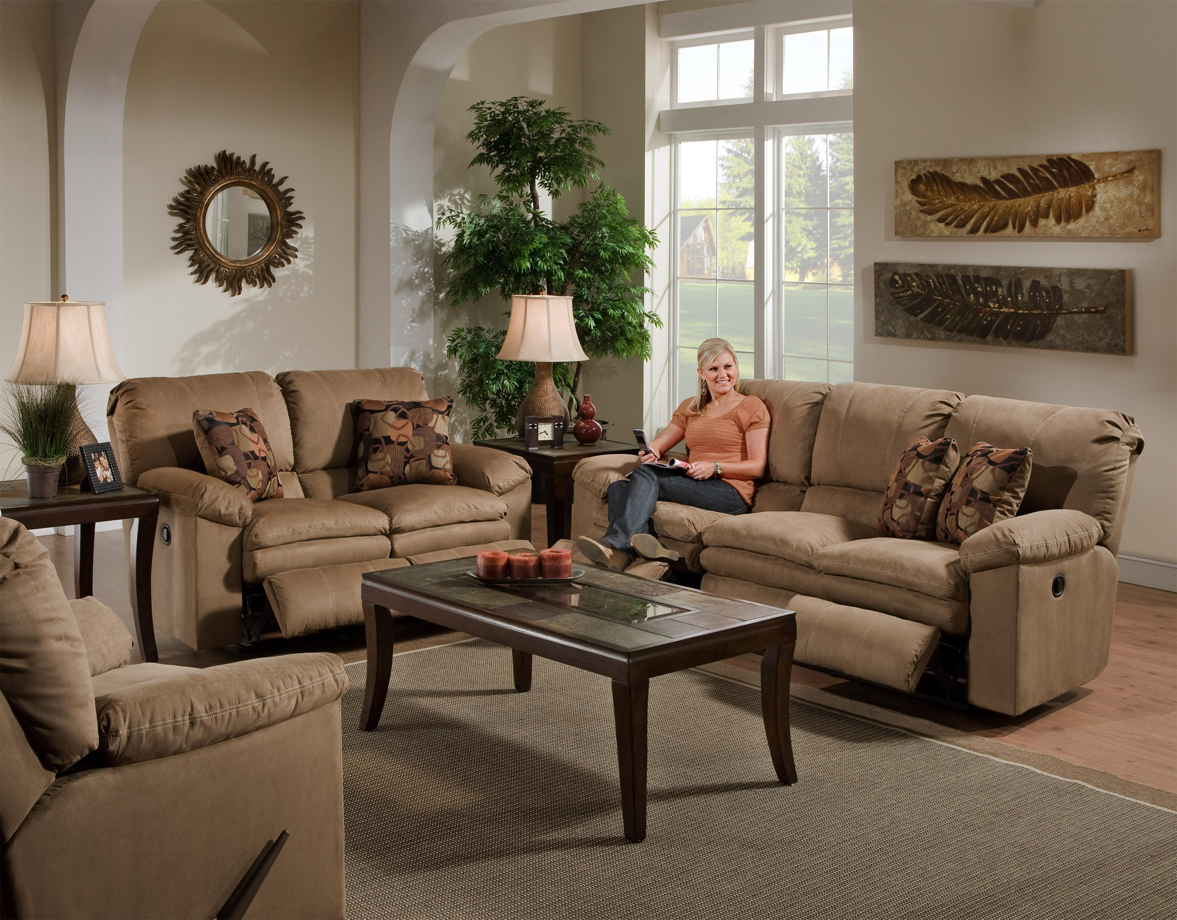 3 person reclining sofa by catnapper wolf and gardiner wolf furniture for Living room with two recliners