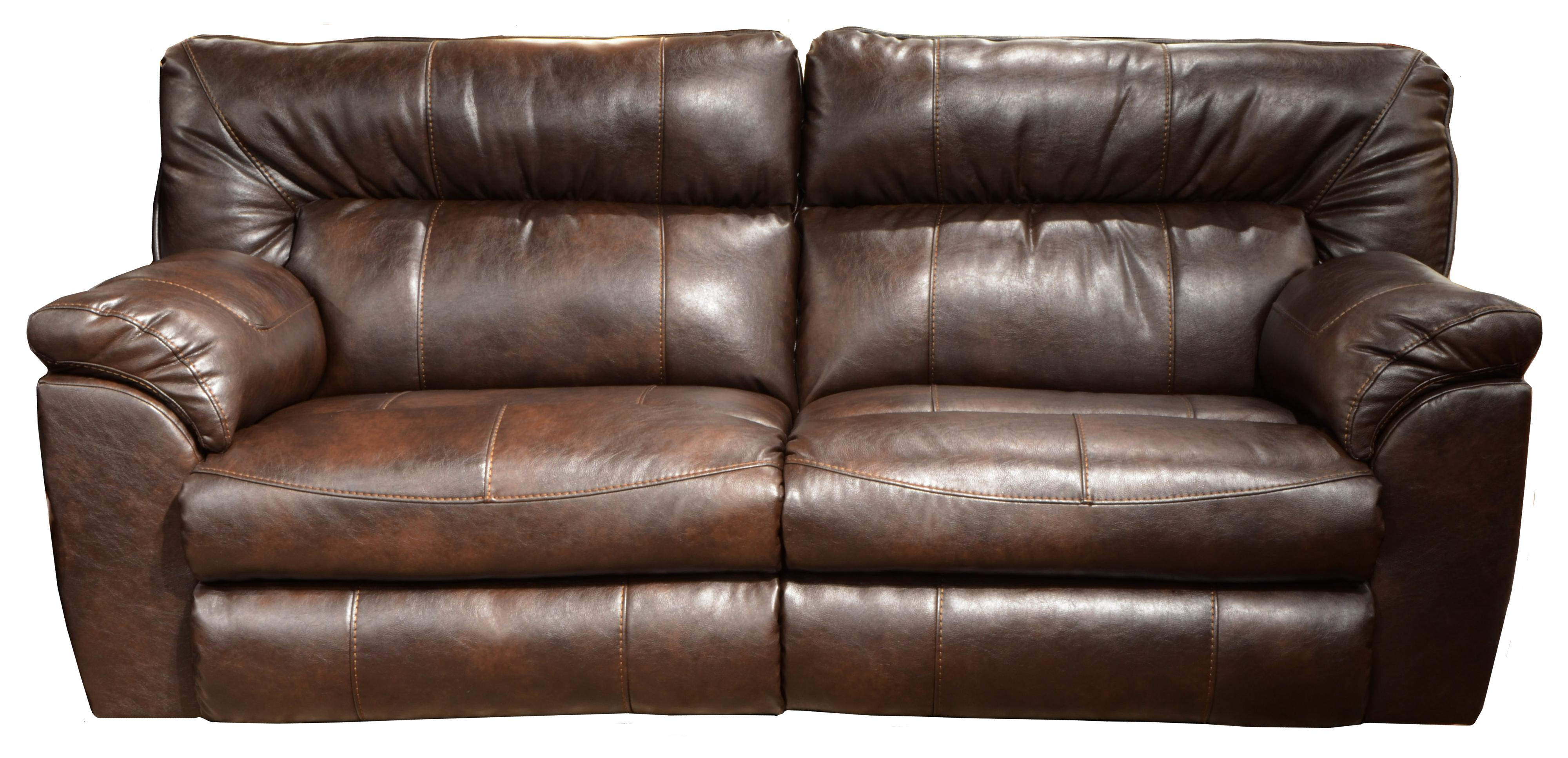 Faux leather extra wide reclining sofa by catnapper wolf for Wide couches