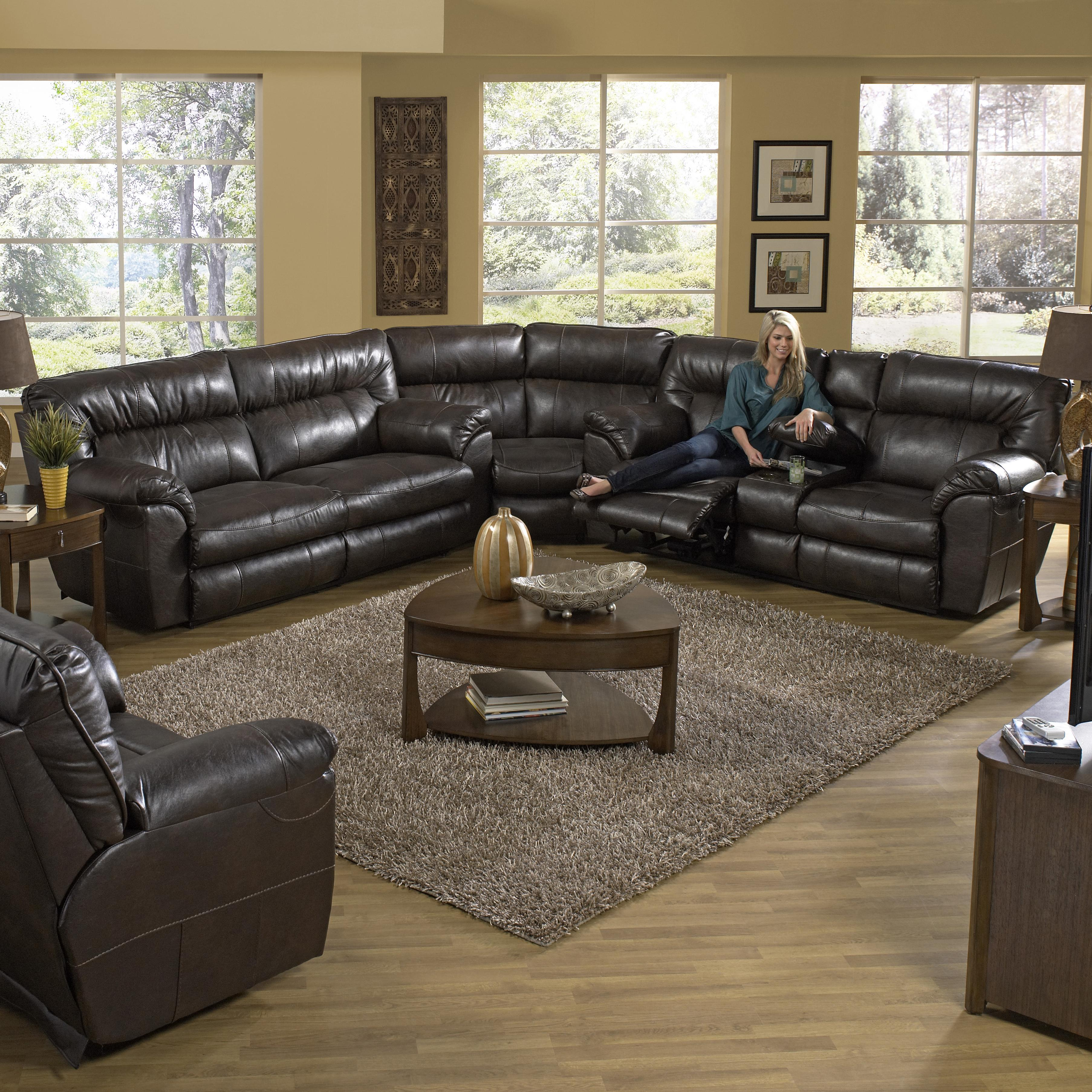 reclining sectional sofa with right console by catnapper wolf and gardiner wolf furniture. Black Bedroom Furniture Sets. Home Design Ideas