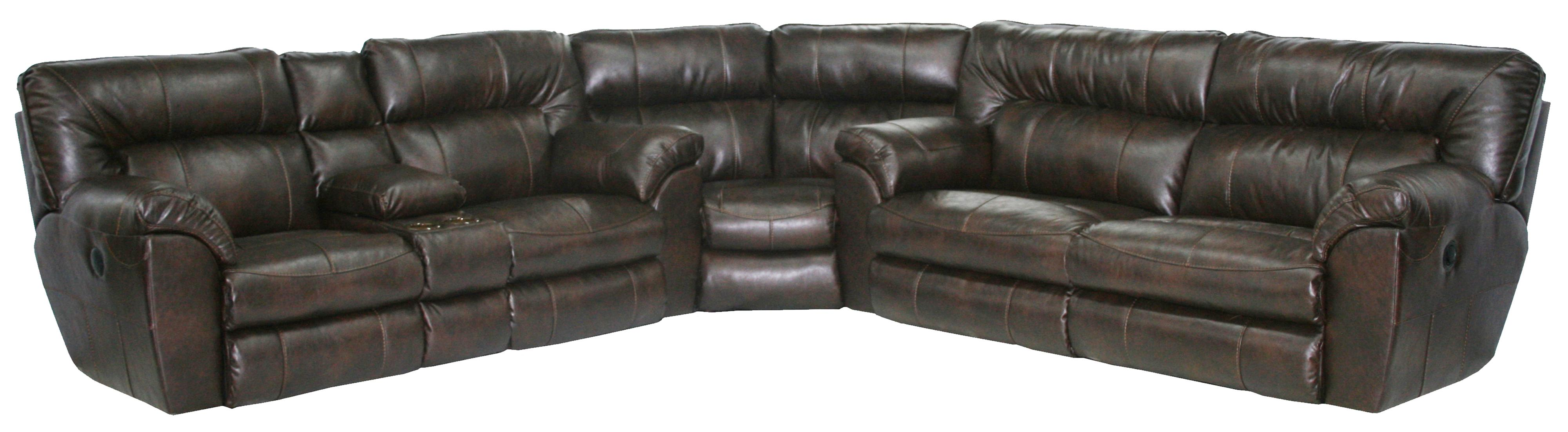 Power reclining sectional sofa with left console by for Sectional sofas power recliners