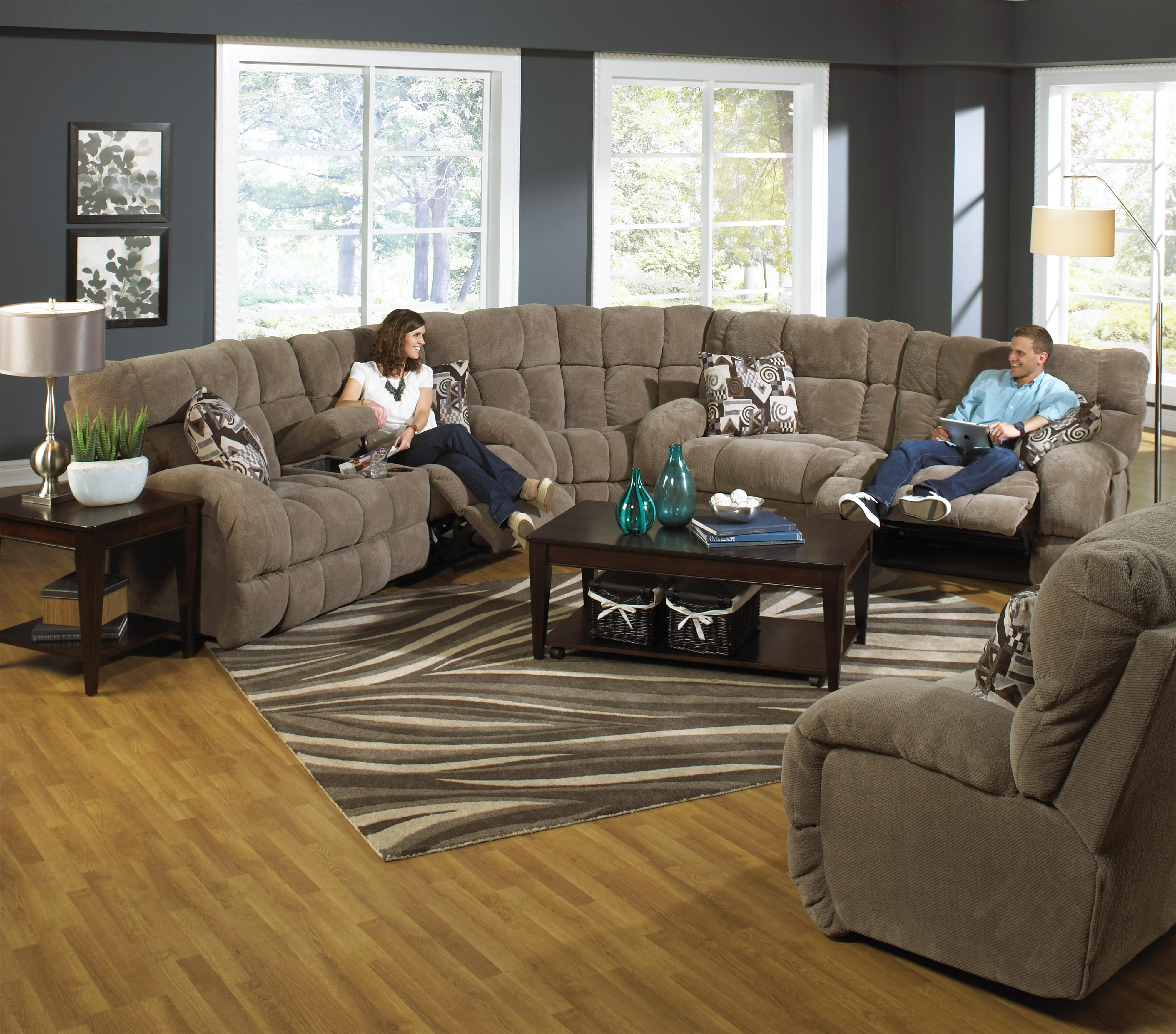 Power lay flat reclining sofa with wide seats by catnapper for Furniture 2 go
