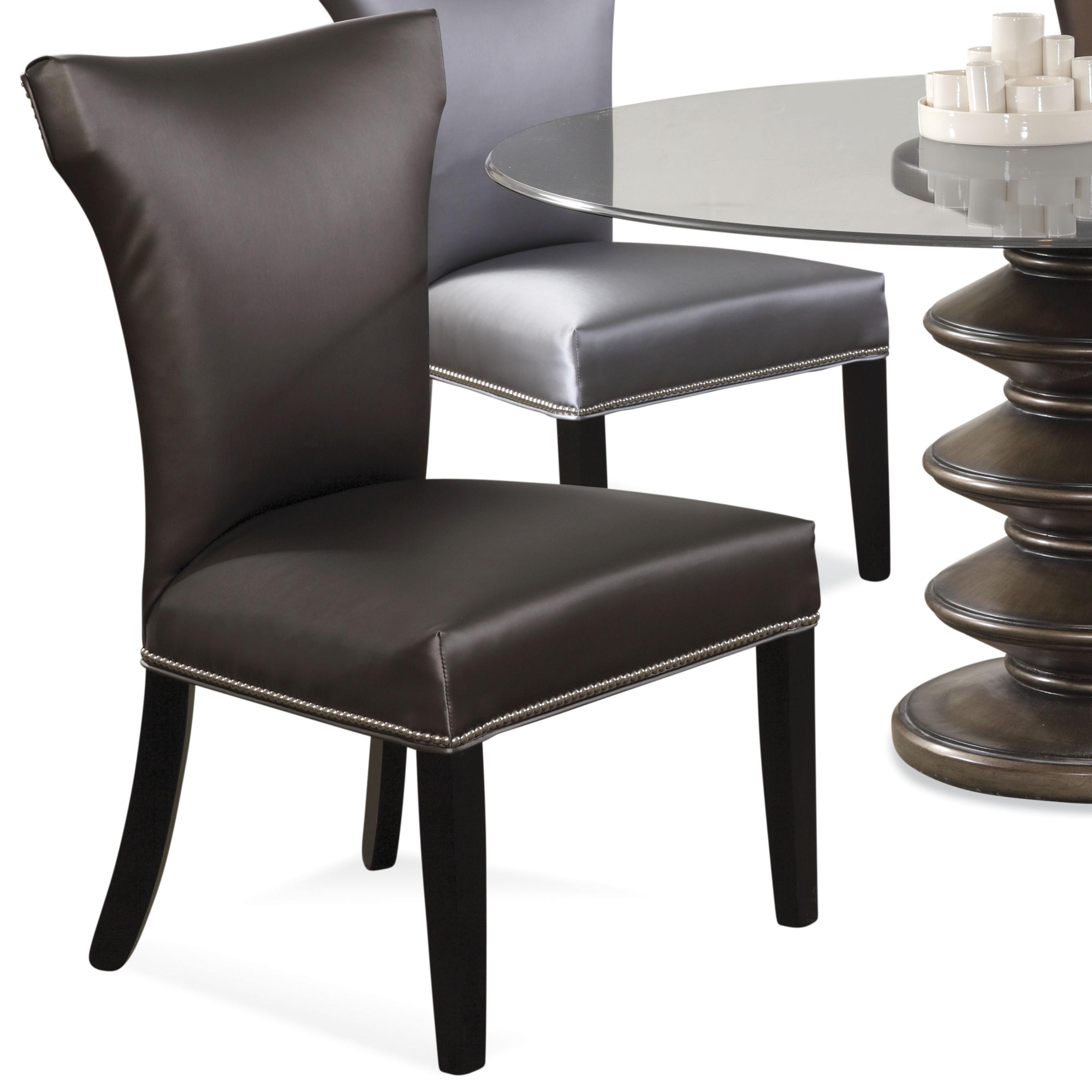 Parson chair black leather dining chair set of 4 the home for Black leather parsons chairs