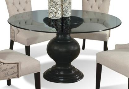 54 round glass dining table with pedestal base by cmi wolf and gardiner wolf furniture