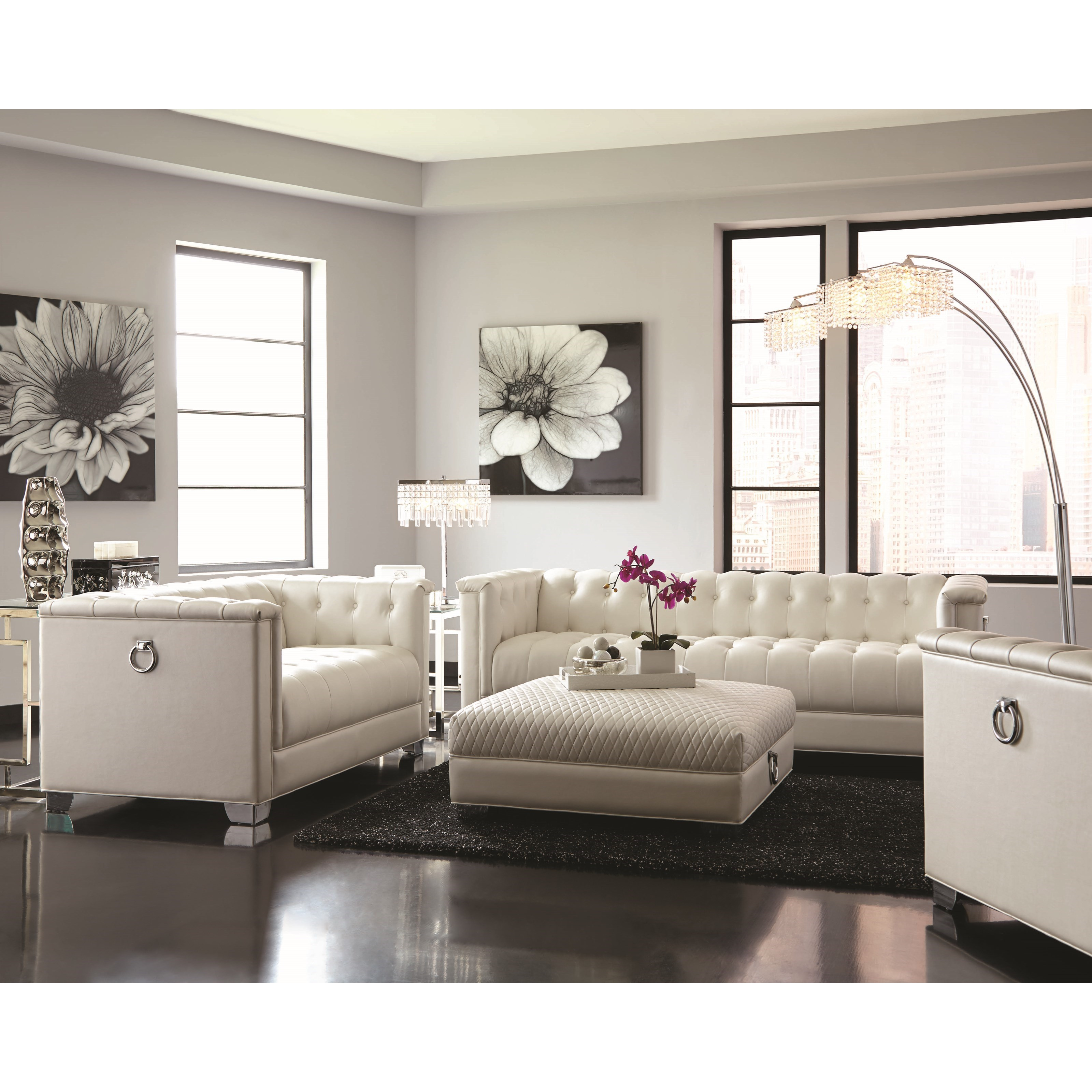Low profile pearl white tufted sofa by coaster wolf and for Coaster furniture