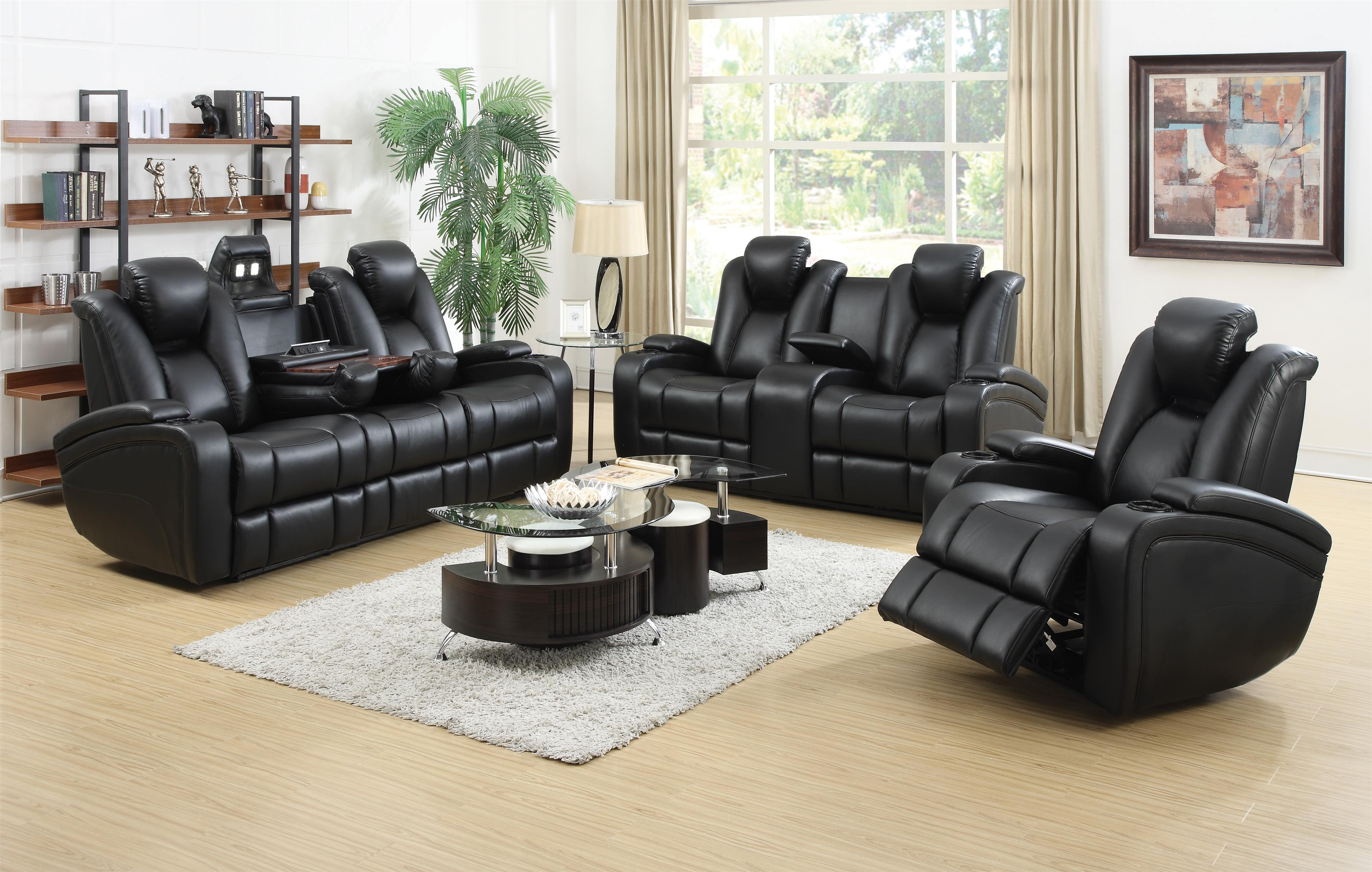 Reclining power sofa with adjustable headrests storage for Coaster co of america furniture
