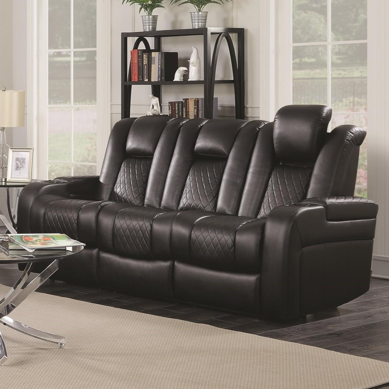 Casual power reclining sofa with cup holders storage for Casual couch