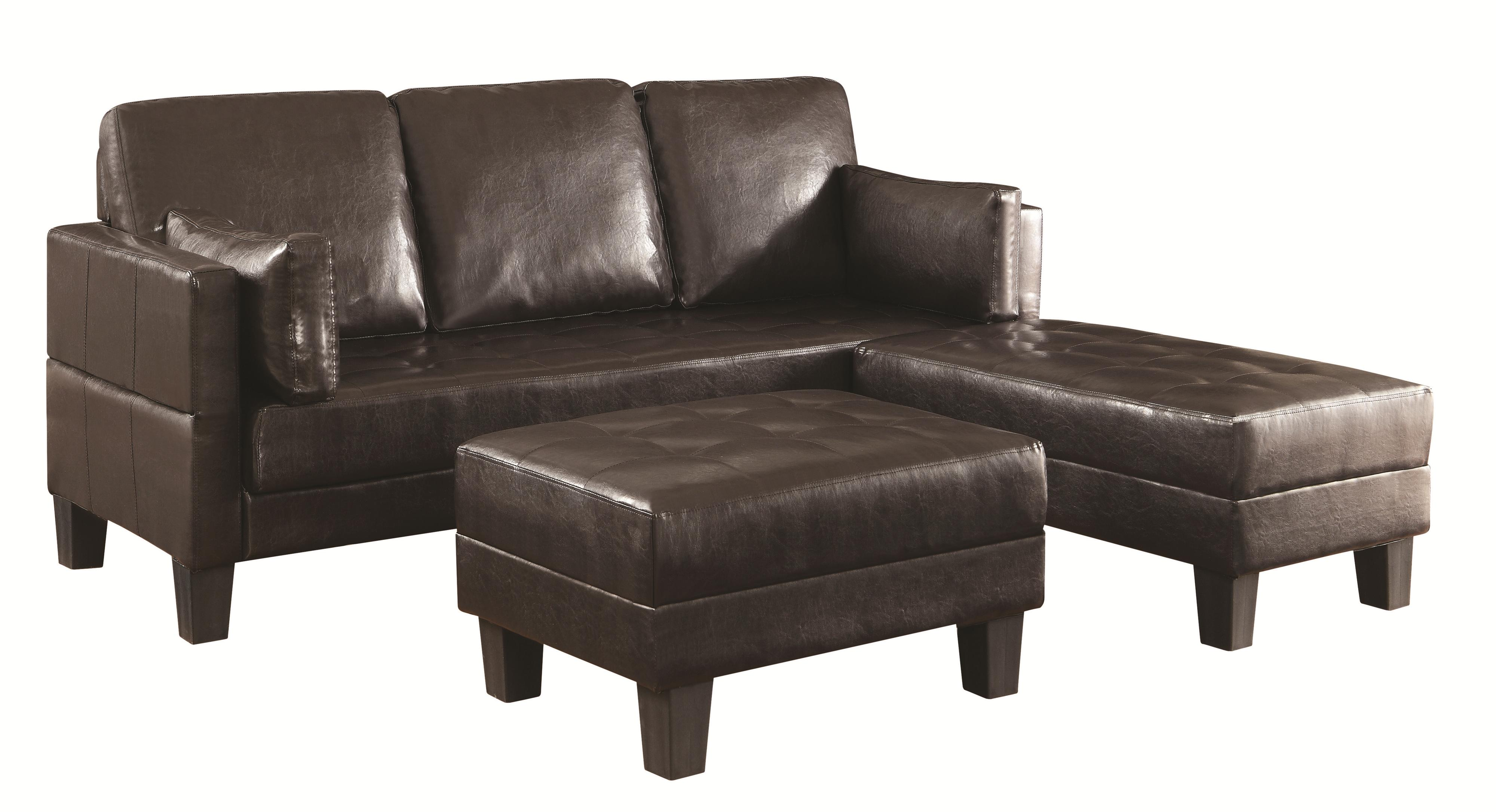 Contemporary sofa bed group with 2 ottomans by coaster for Sofa bed ottoman
