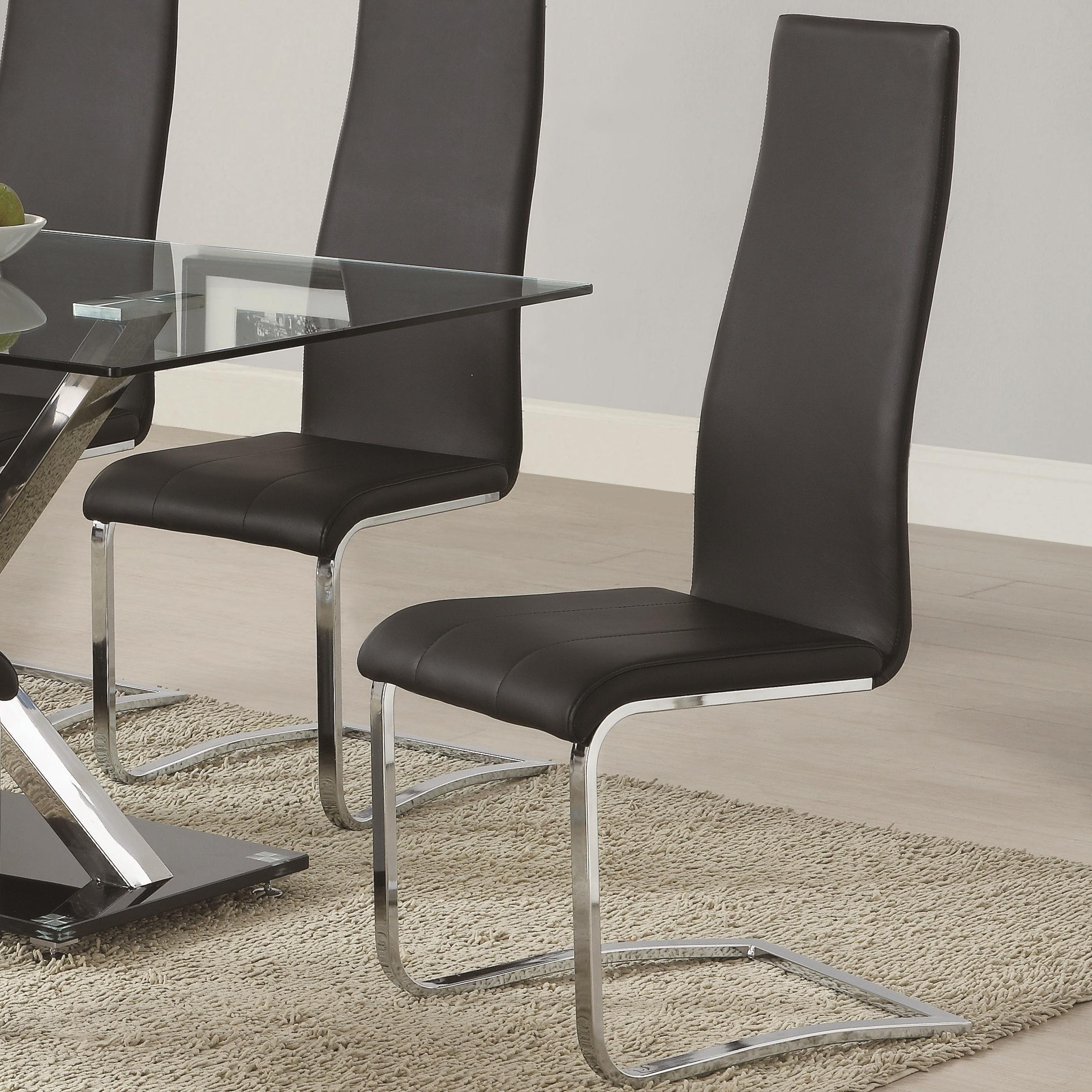Black faux leather dining chair with chrome legs by for Leather and chrome dining chairs