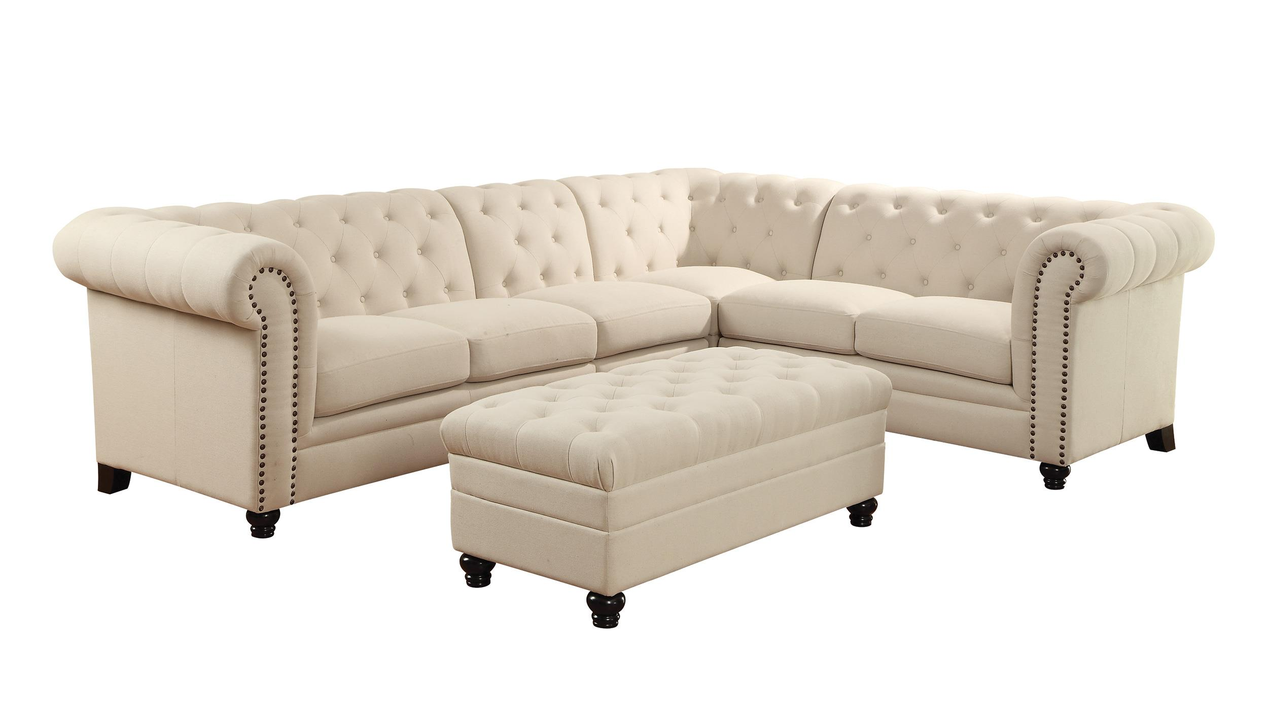 Button tufted sectional sofa with armless chair by coaster for Sectional sofas gardiners