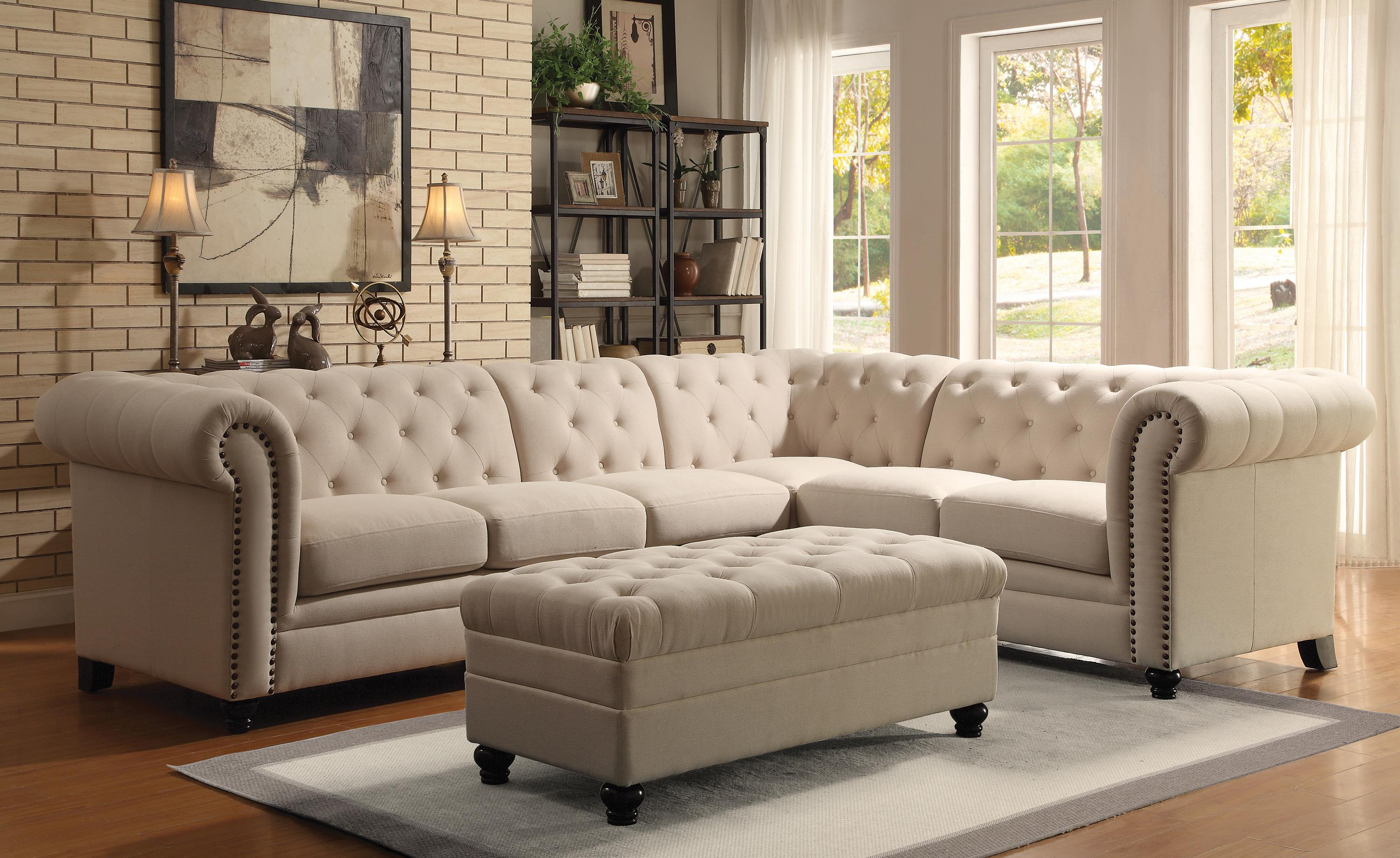 Button tufted sectional sofa with armless chair by coaster for Sectional sofa mor furniture