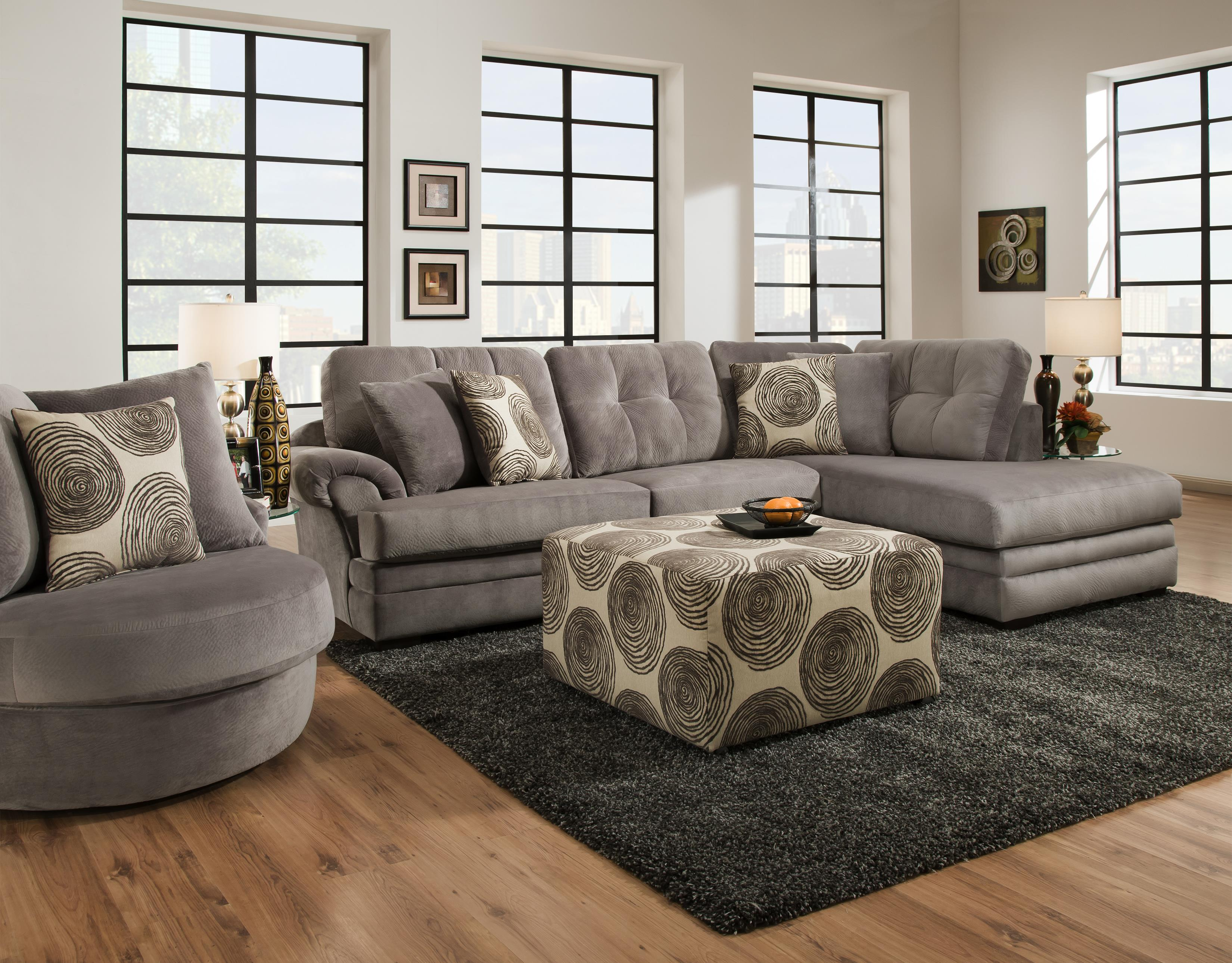 Sectional sofa with chaise on right side by corinthian for Sectional sofas wolf furniture