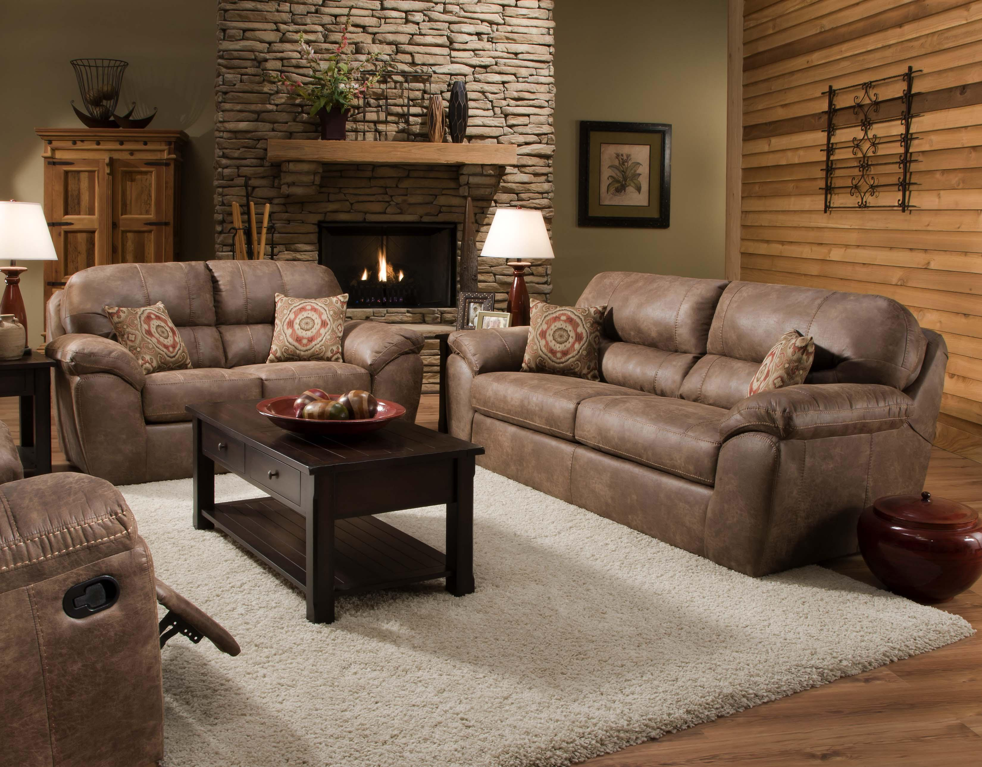 Casual faux leather plush sofa by corinthian wolf and gardiner wolf furniture for Living room furniture stores in ct