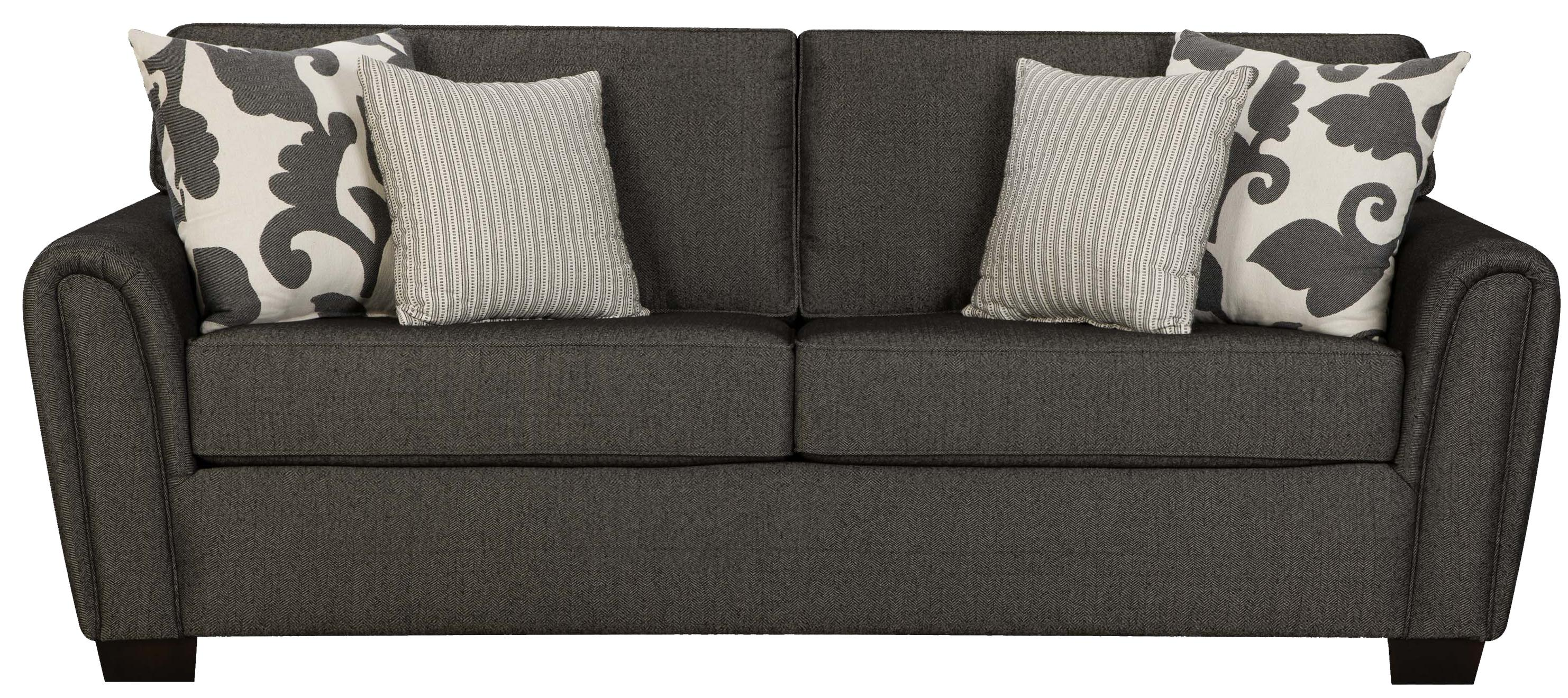 Contemporary Stationary Sofa with Tapered Roll Arms by