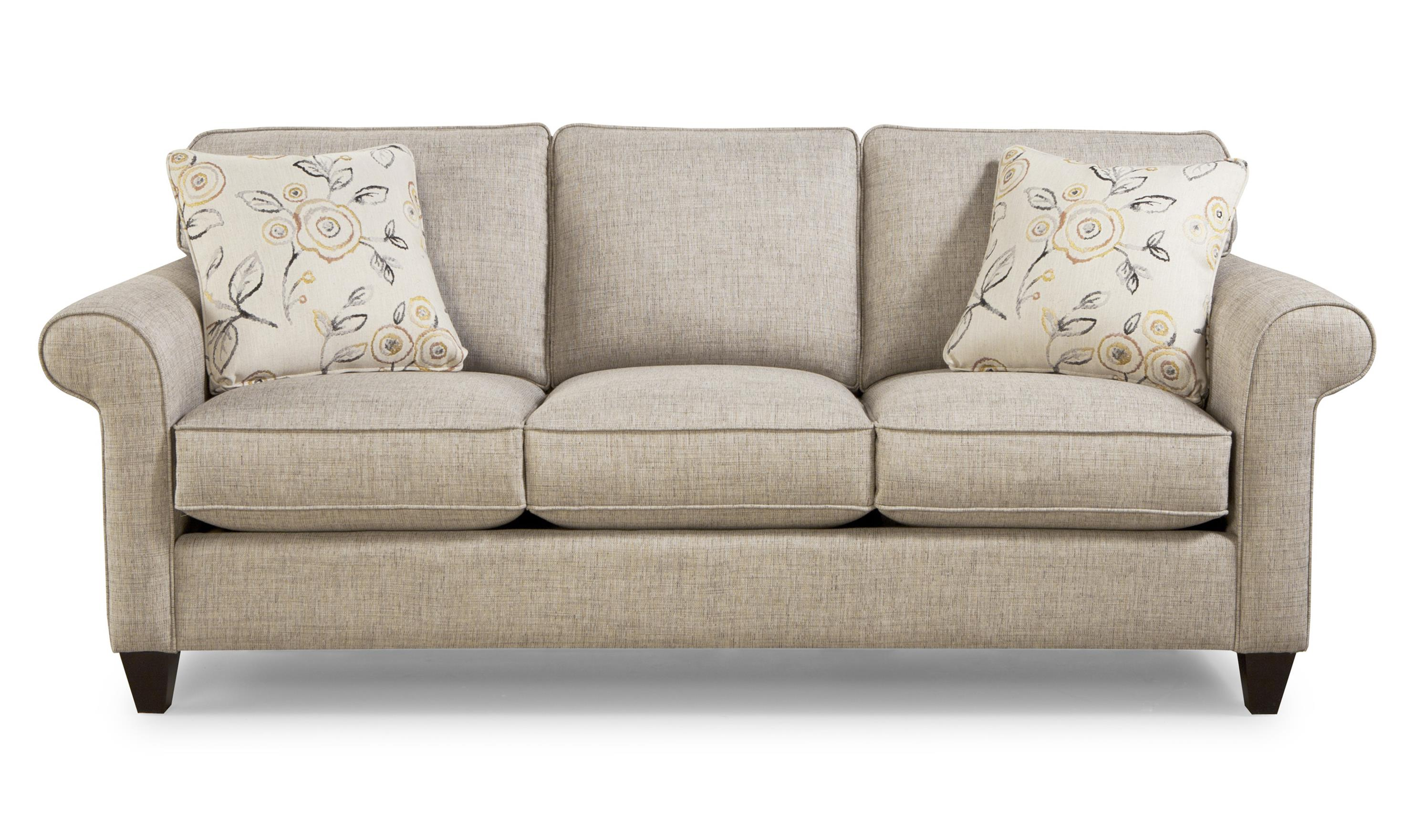Transitional sleeper sofa with sock rolled arms by for Furniture couches sofas