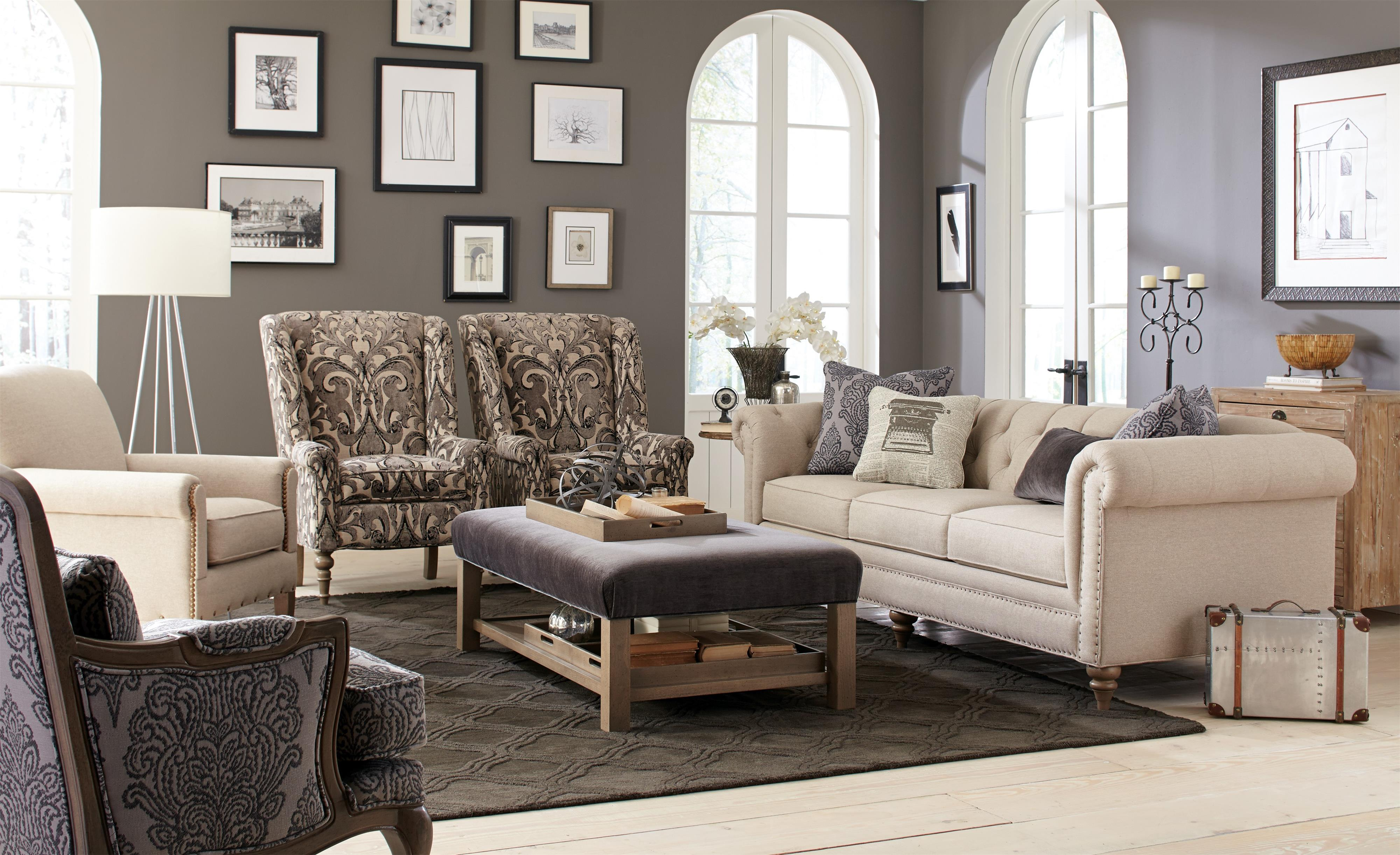 large sofa with vintage tack nailheads by craftmaster wolf and gardiner wolf furniture. Black Bedroom Furniture Sets. Home Design Ideas