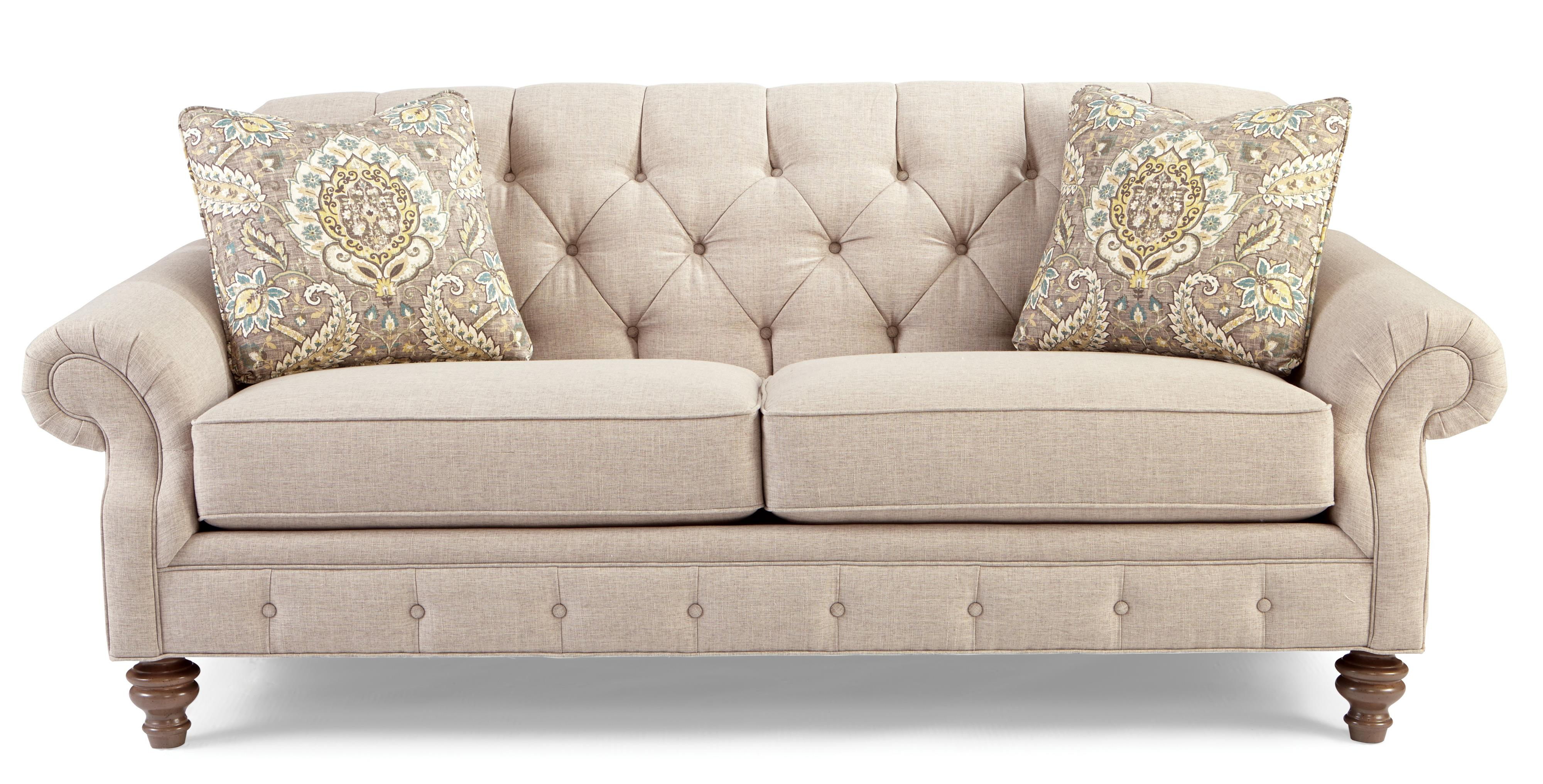 Traditional button tufted sofa with wide flared arms by for Tufted couch set