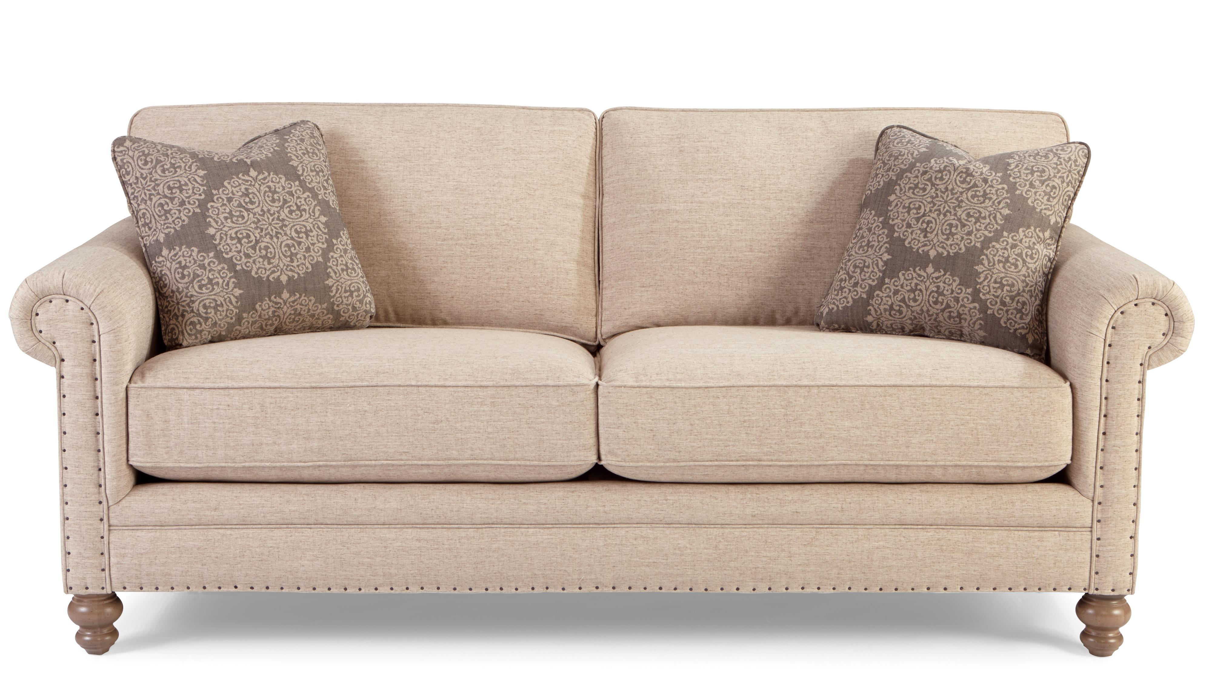 Traditional sofa with rolled arms and vintage tack for Traditional sofas and loveseats