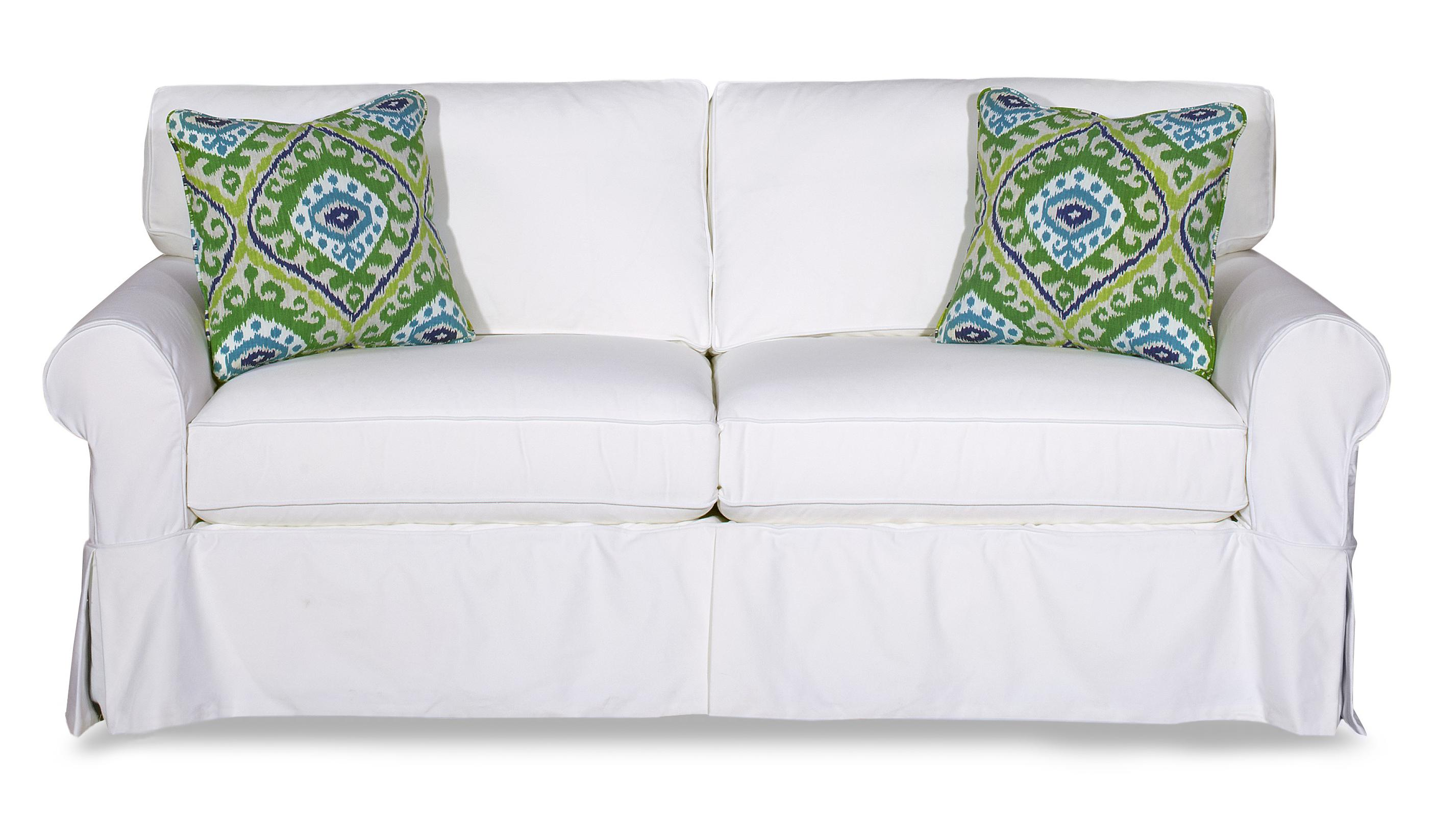 Cottage style slipcover sofa with rolled arms and kick for Styles of sofas with pictures