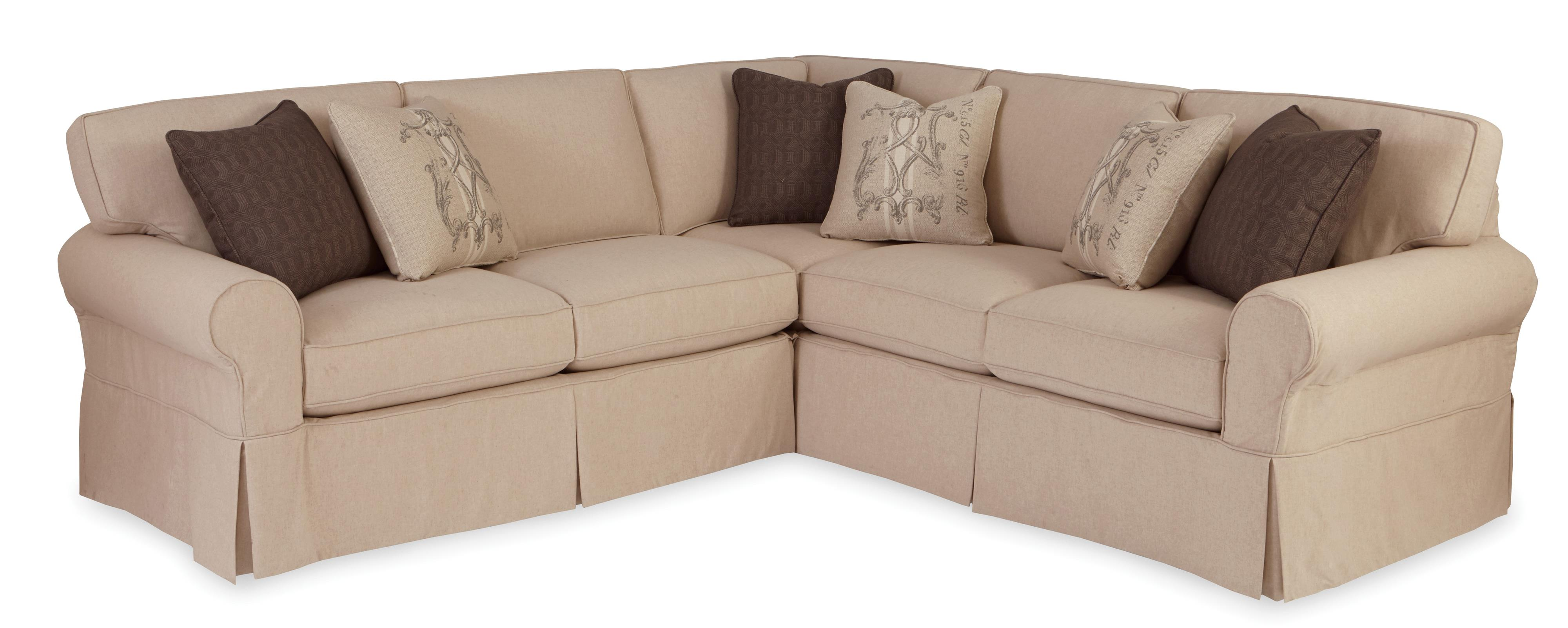 Two piece slipcovered sectional sofa with raf return sofa for 2 piece furniture set